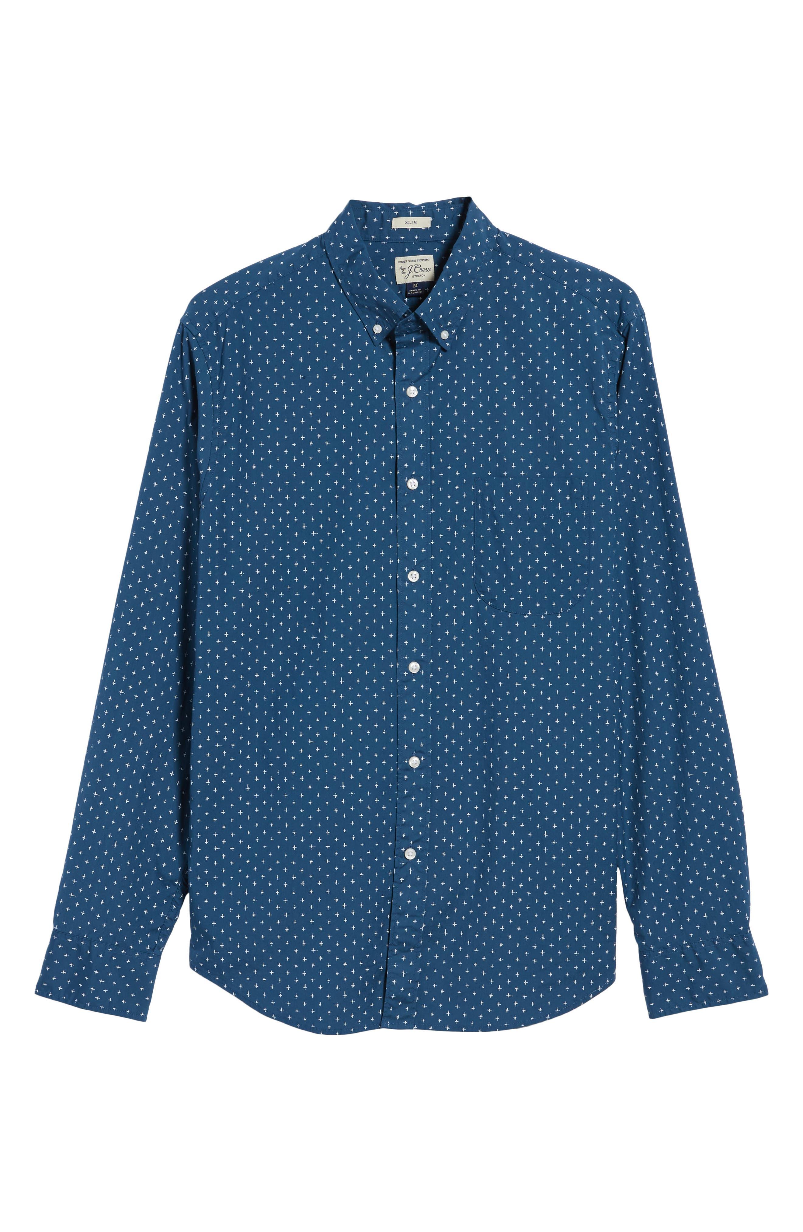Slim Fit Stretch Secret Wash Crosshatch Print Sport Shirt,                             Alternate thumbnail 6, color,