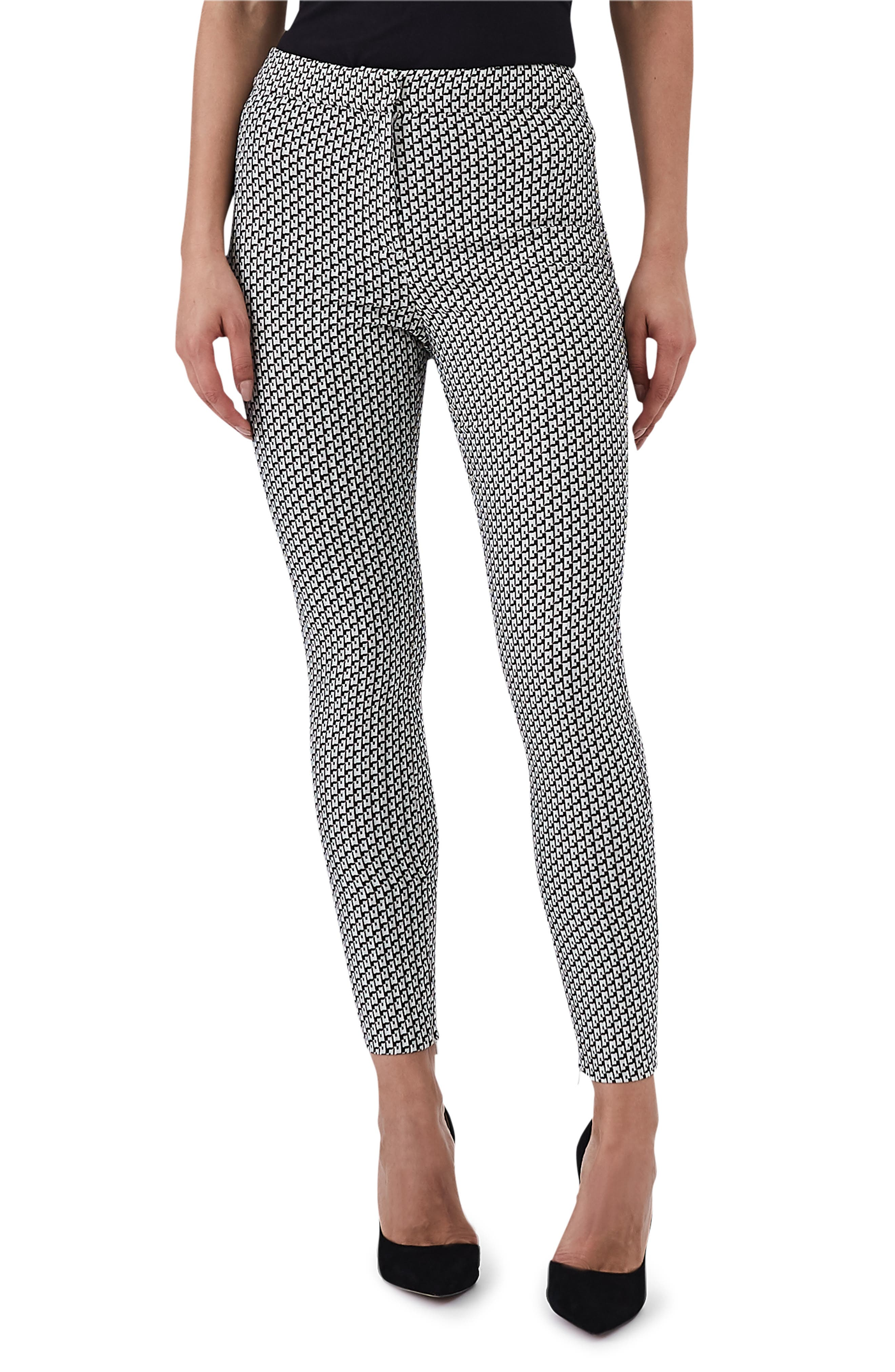 REISS Gio Printed Skinny Pants in Black/ Cream