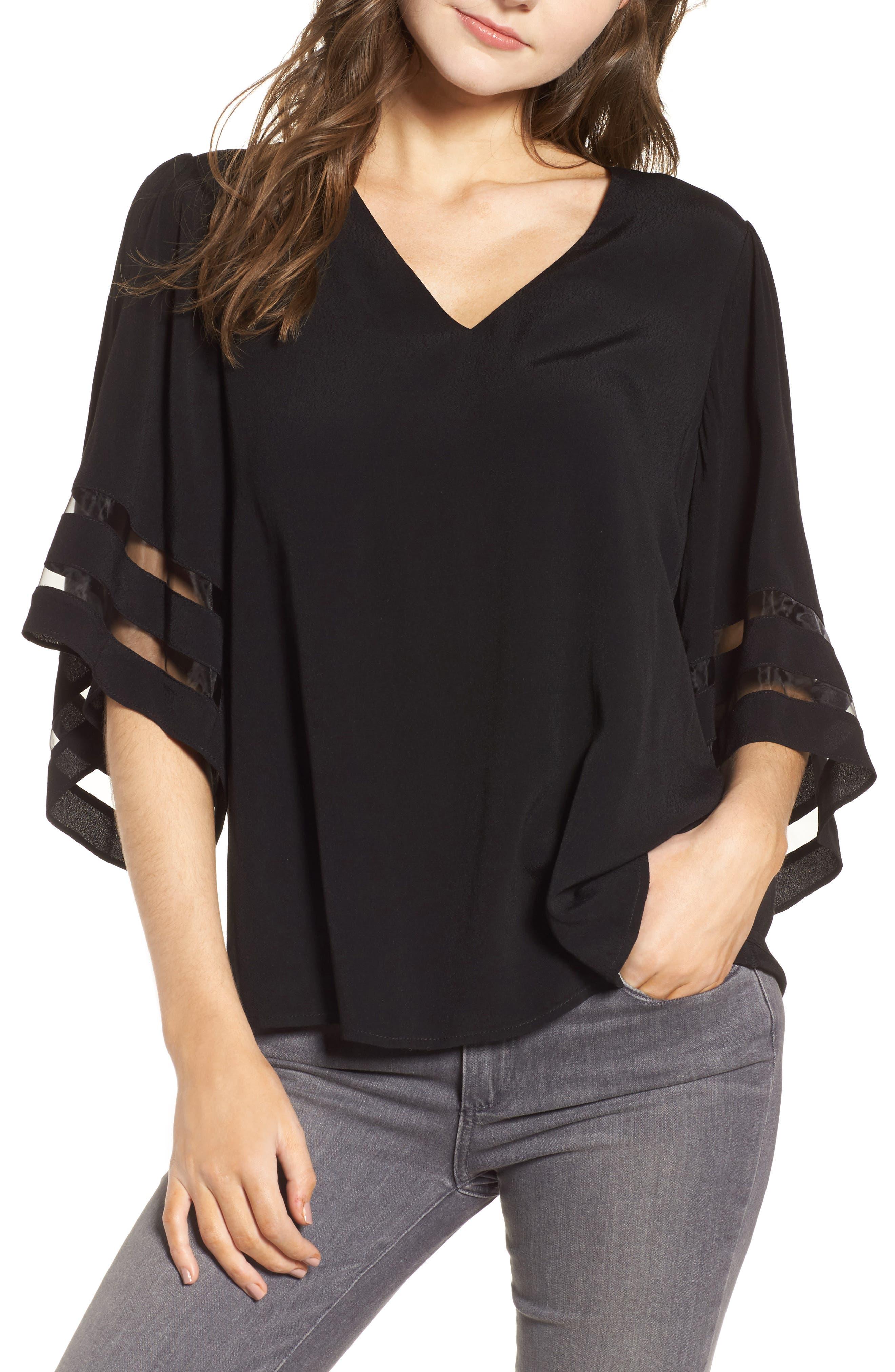 Illusion Sleeve Top, Main, color, BLACK