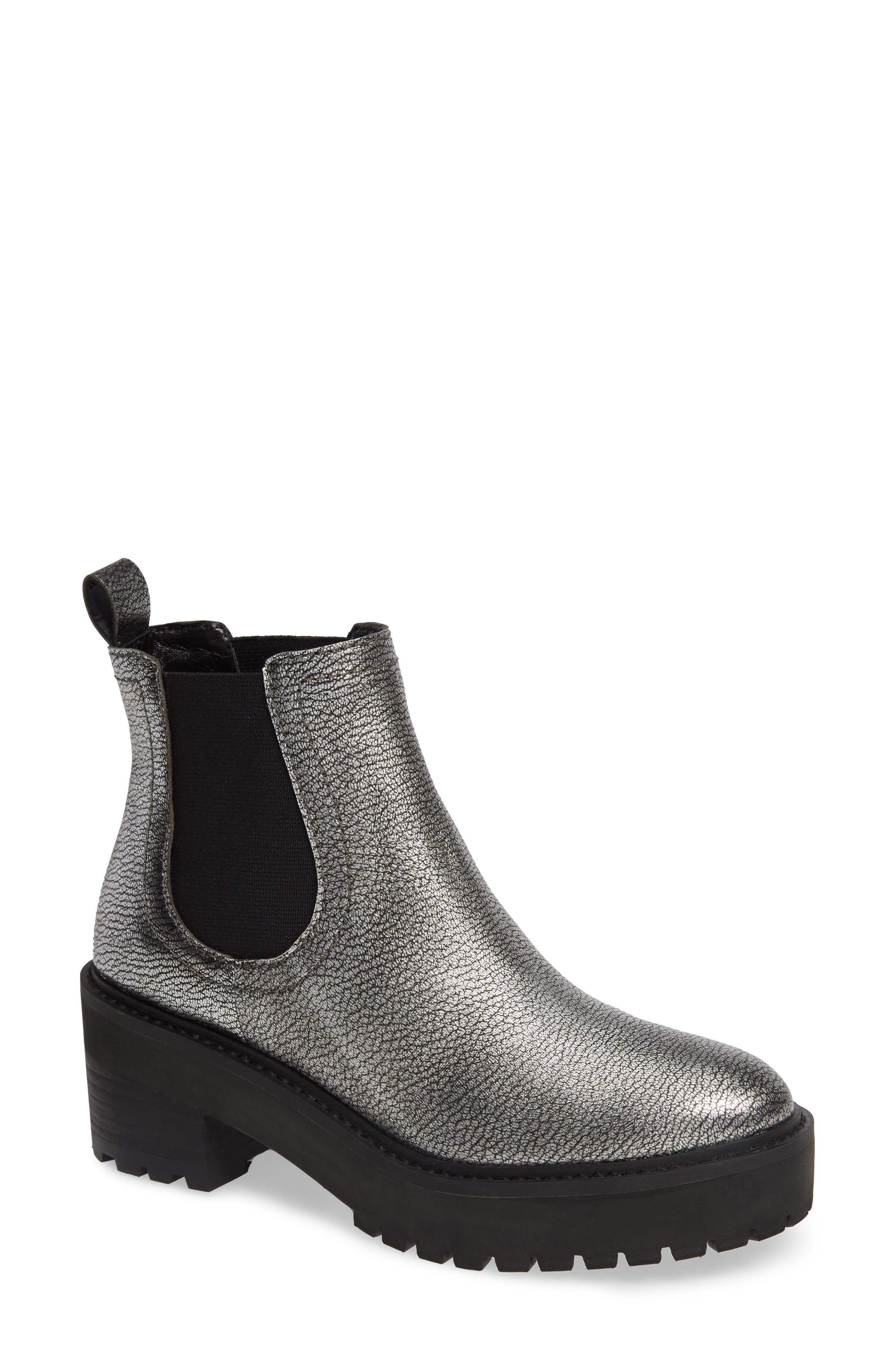 Linea Paolo Tate Platform Chelsea Boot- Metallic