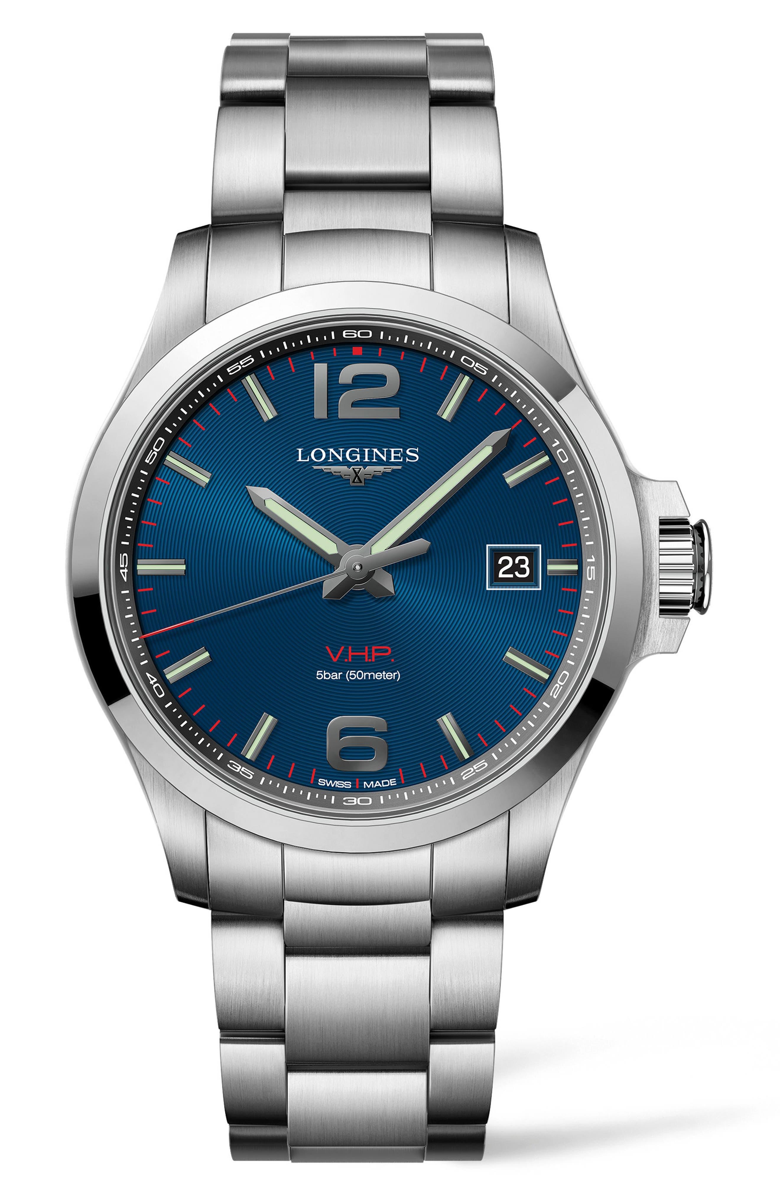 Conquest VHP Bracelet Watch, 43mm,                             Main thumbnail 1, color,                             SILVER/ BLUE/ SILVER