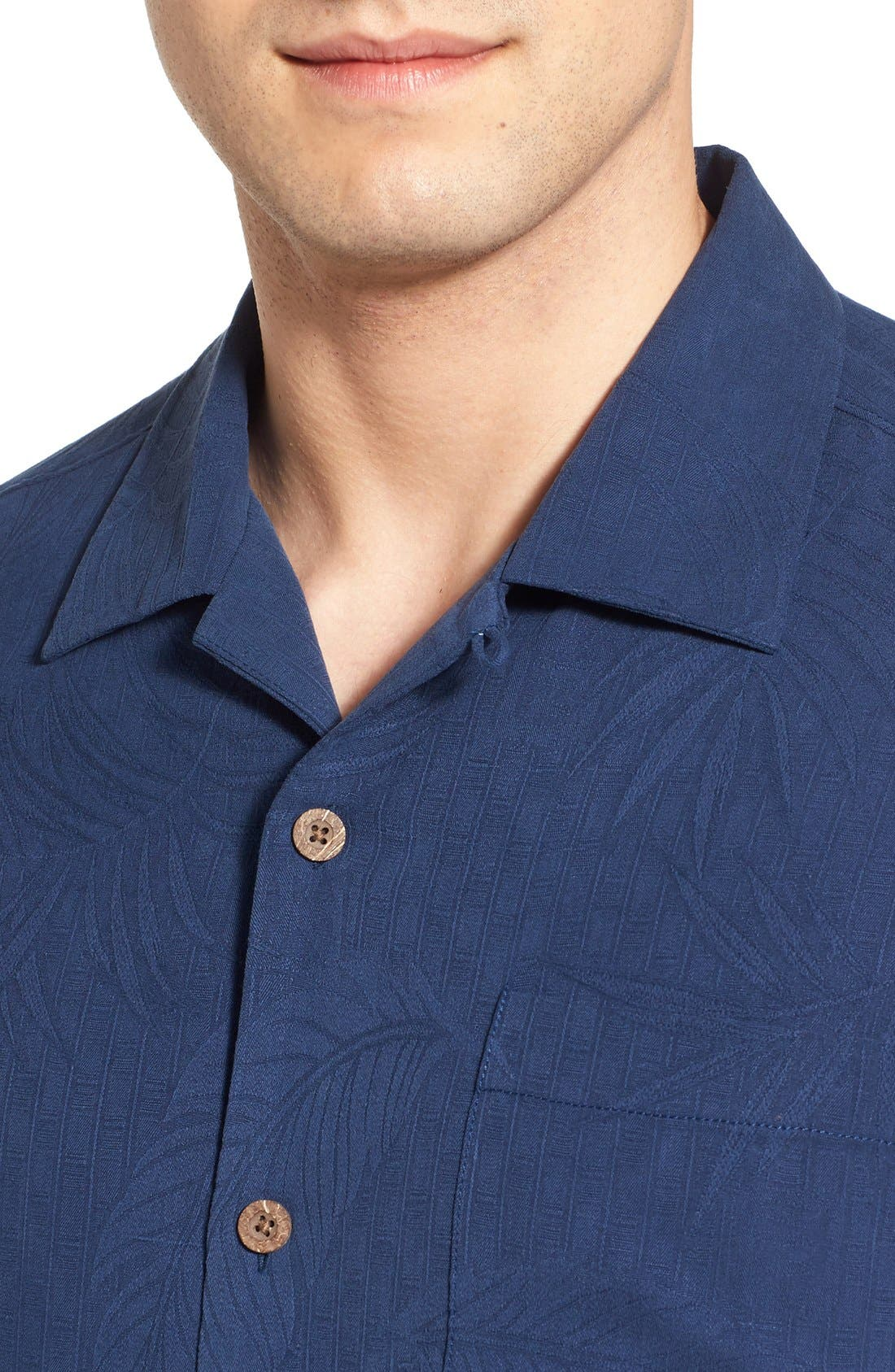 'Tiki Palms' Original Fit Jacquard Silk Camp Shirt,                             Alternate thumbnail 8, color,
