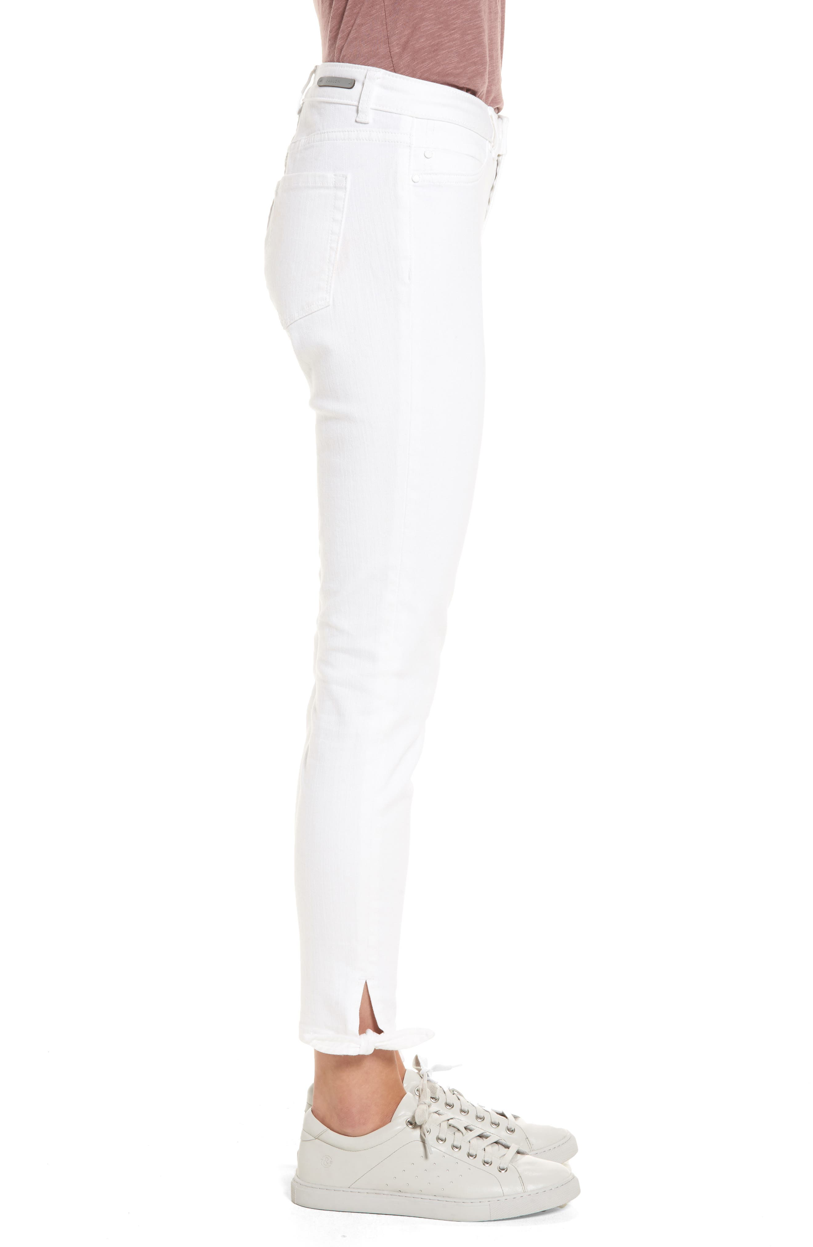 Tie Ankle Skinny Jeans,                             Alternate thumbnail 3, color,                             100