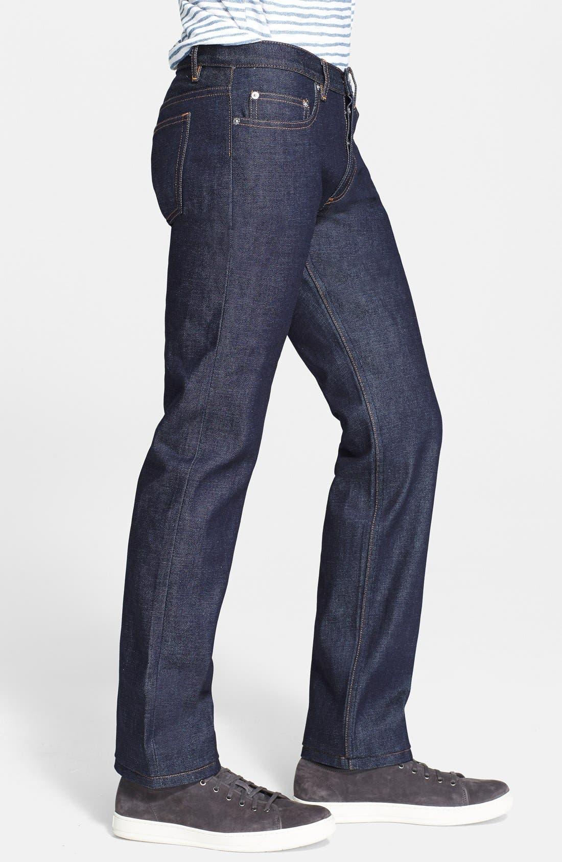 New Standard Slim Straight Leg Raw Selvedge Jeans,                             Alternate thumbnail 2, color,                             INDIGO WASH