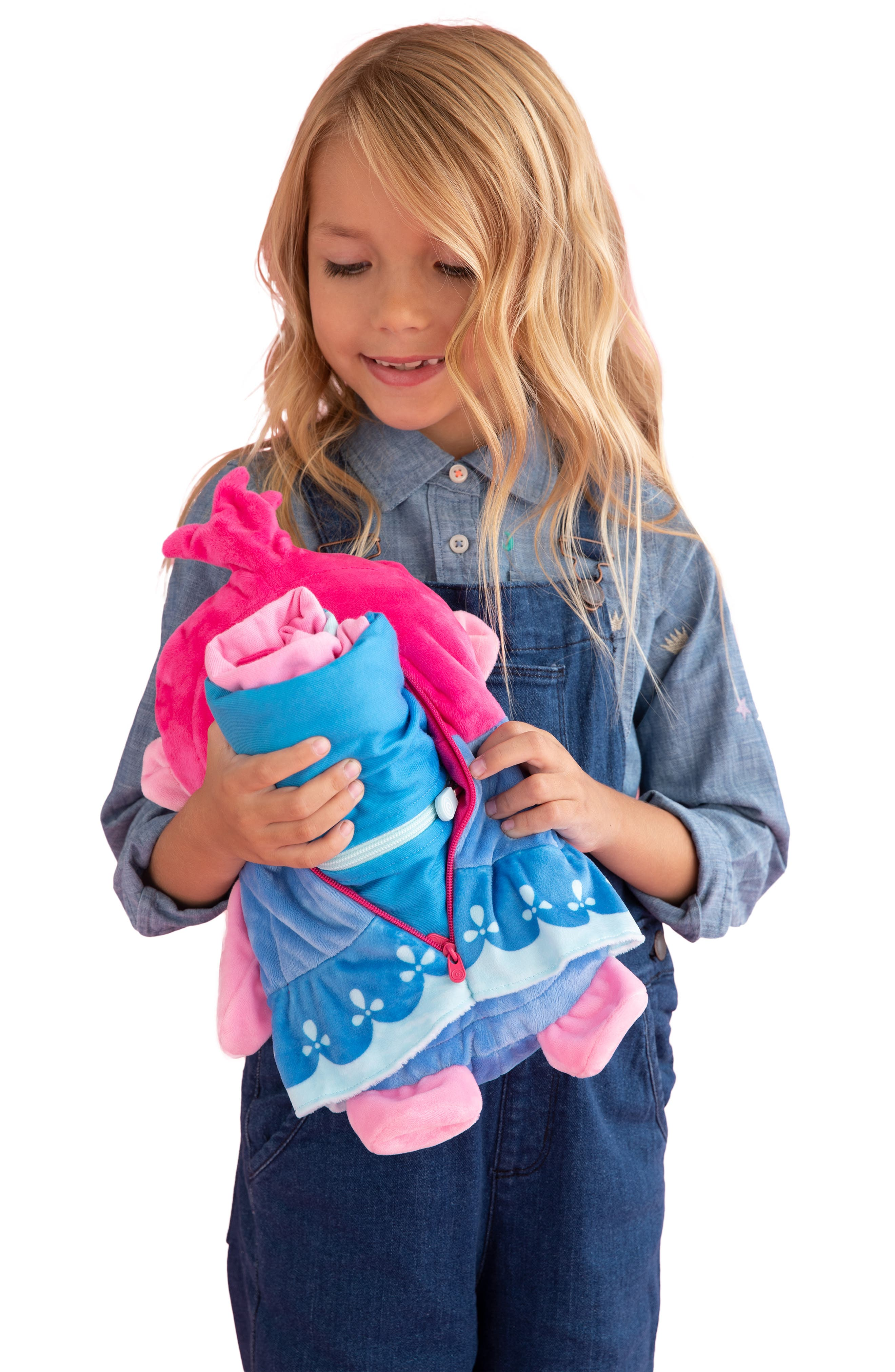 DreamWorks Trolls Poppy 2-in-1 Stuffed Animal Hoodie,                             Alternate thumbnail 10, color,                             PINK MIX
