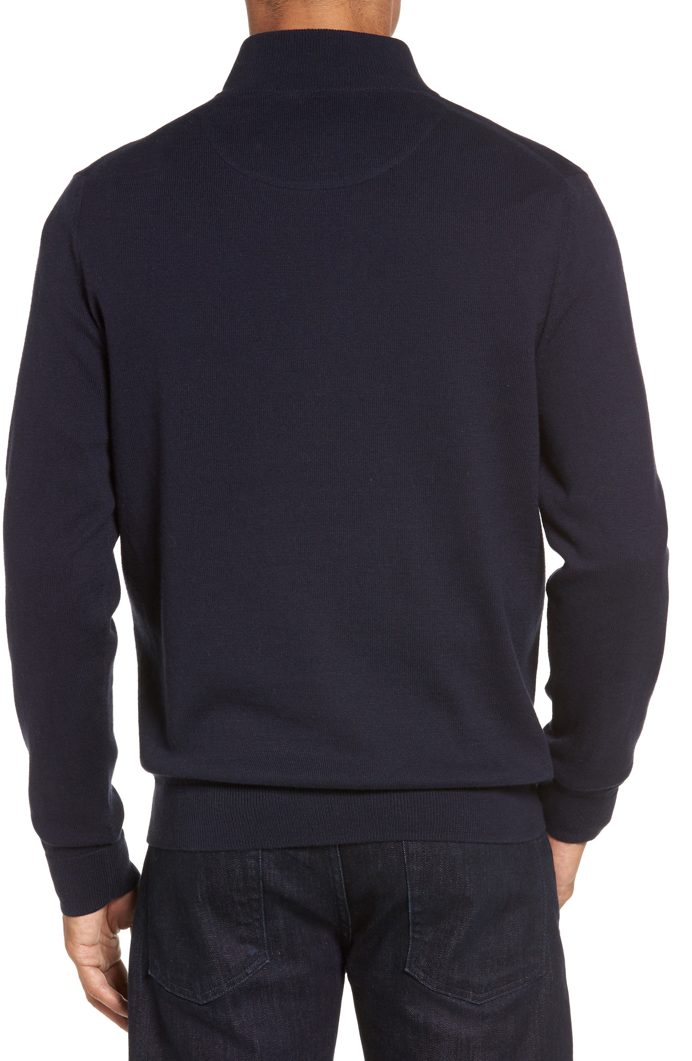Half Zip Cotton & Cashmere Pullover,                             Alternate thumbnail 3, color,                             NAVY NIGHT
