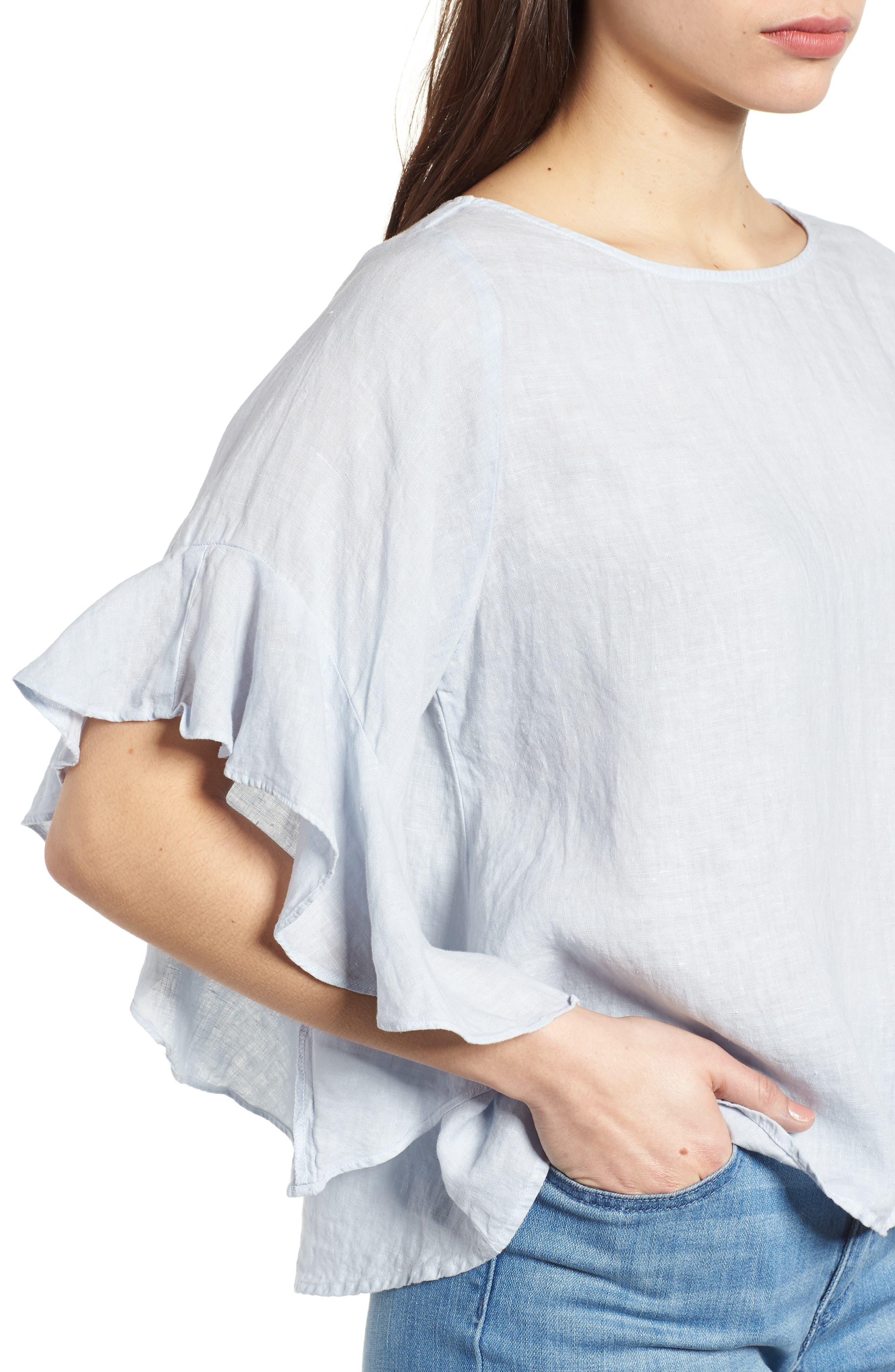 Ruffle Sleeve Linen Top,                             Alternate thumbnail 4, color,