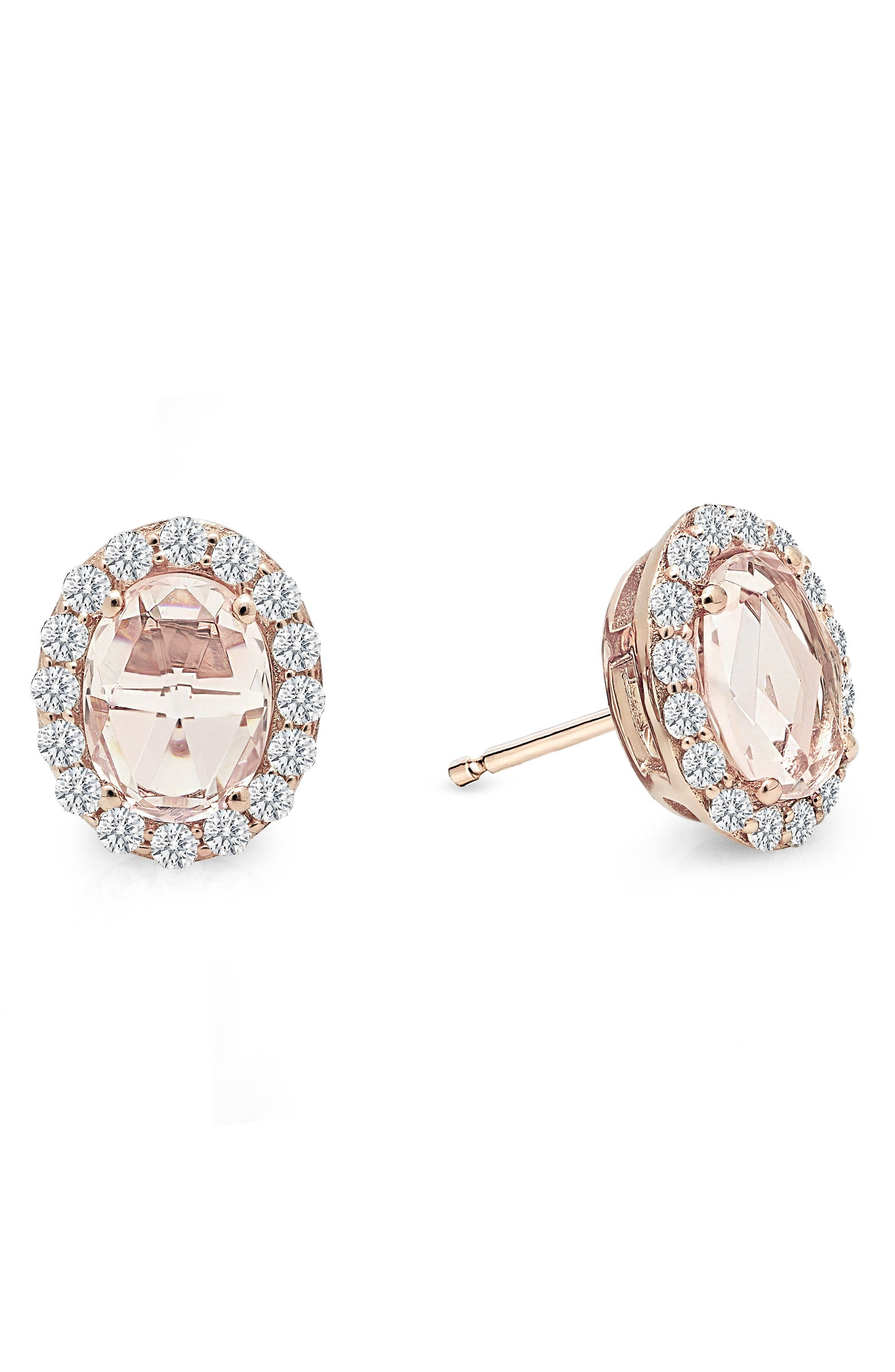 Simulated Diamond Halo Earrings,                             Main thumbnail 1, color,                             PINK / ROSE GOLD