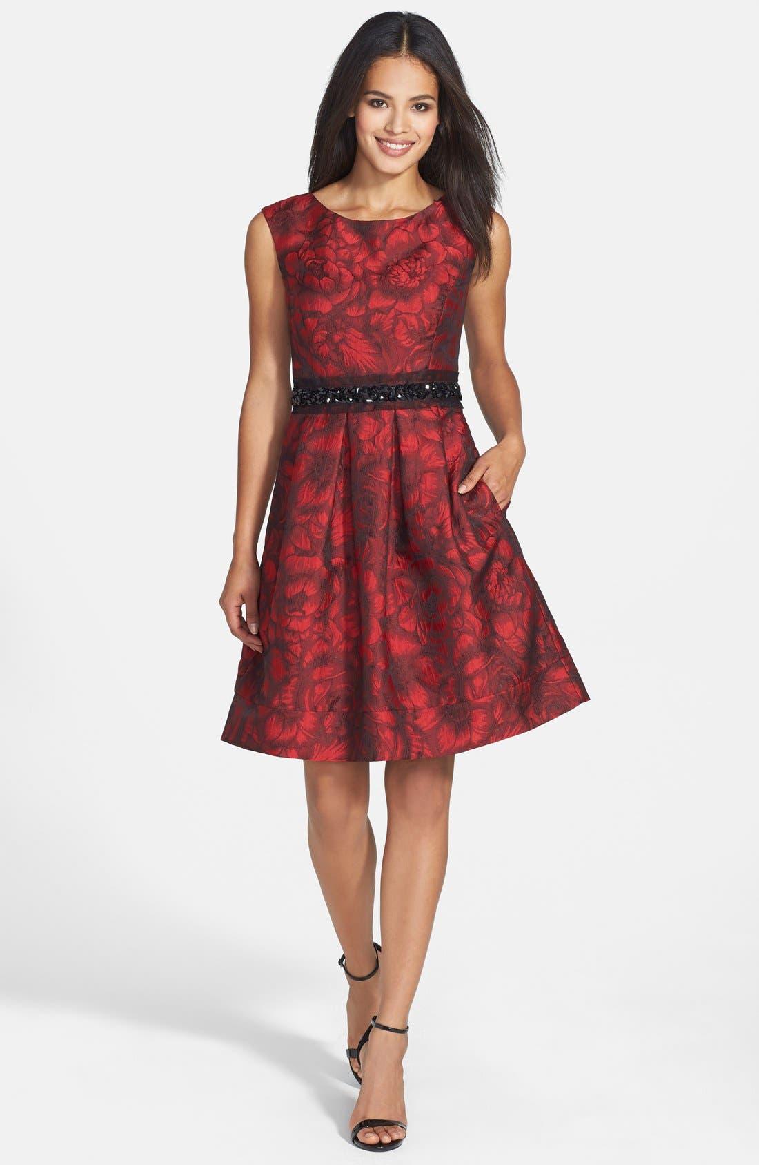 Embellished Waist Brocade Fit & Flare Dress,                             Alternate thumbnail 3, color,                             614