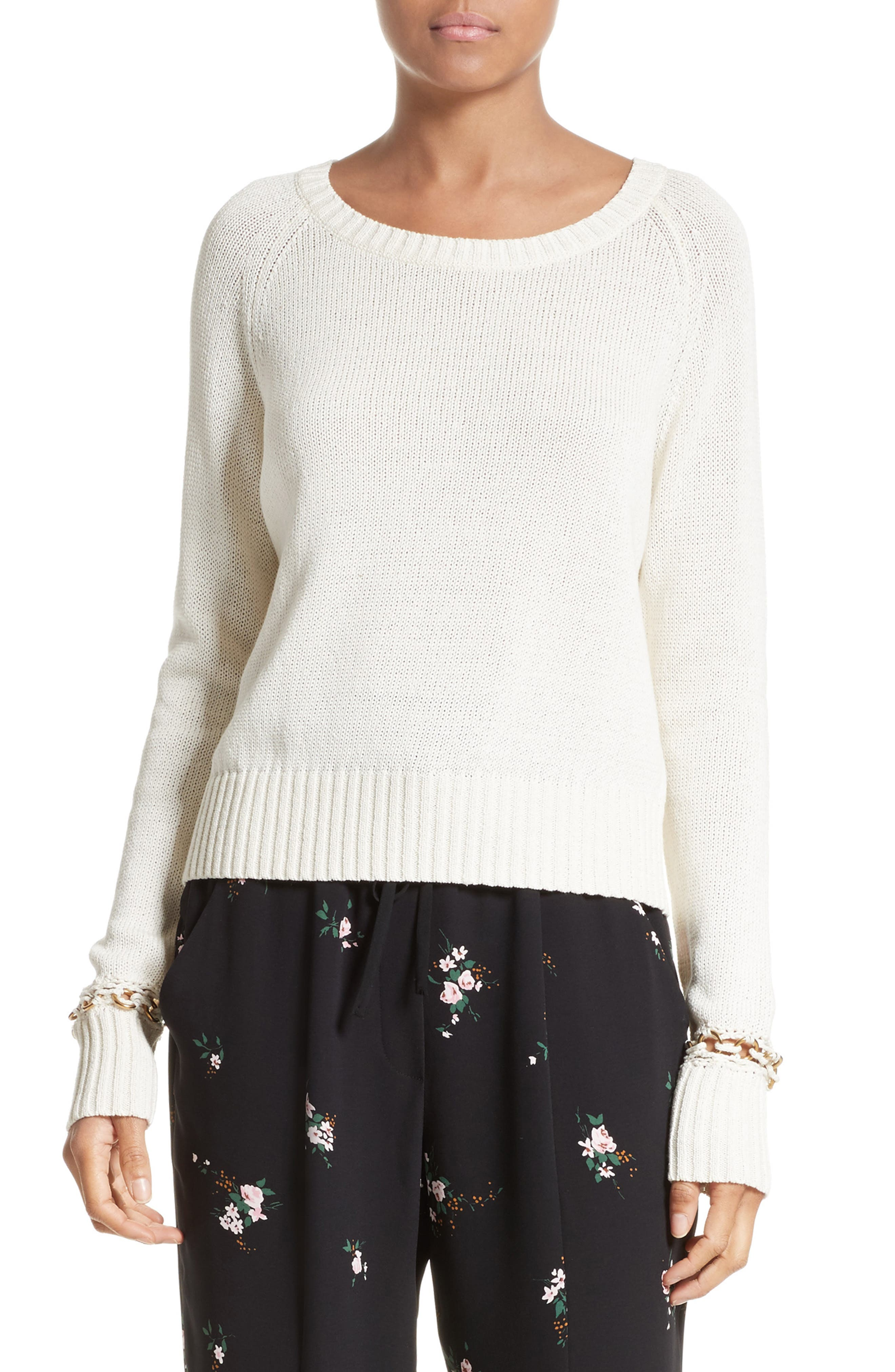 Dree Embellished Cuff Cotton Sweater,                         Main,                         color, 101