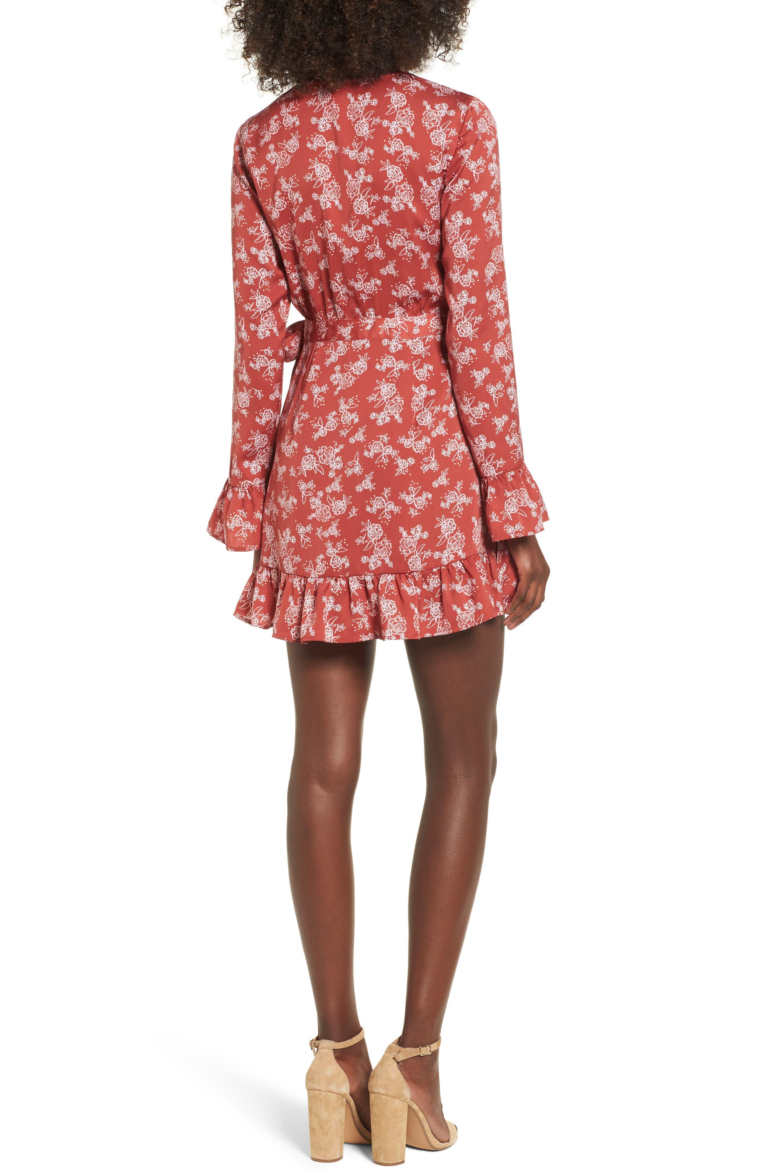 Ophelia Floral Print Wrap Dress,                             Alternate thumbnail 2, color,                             600