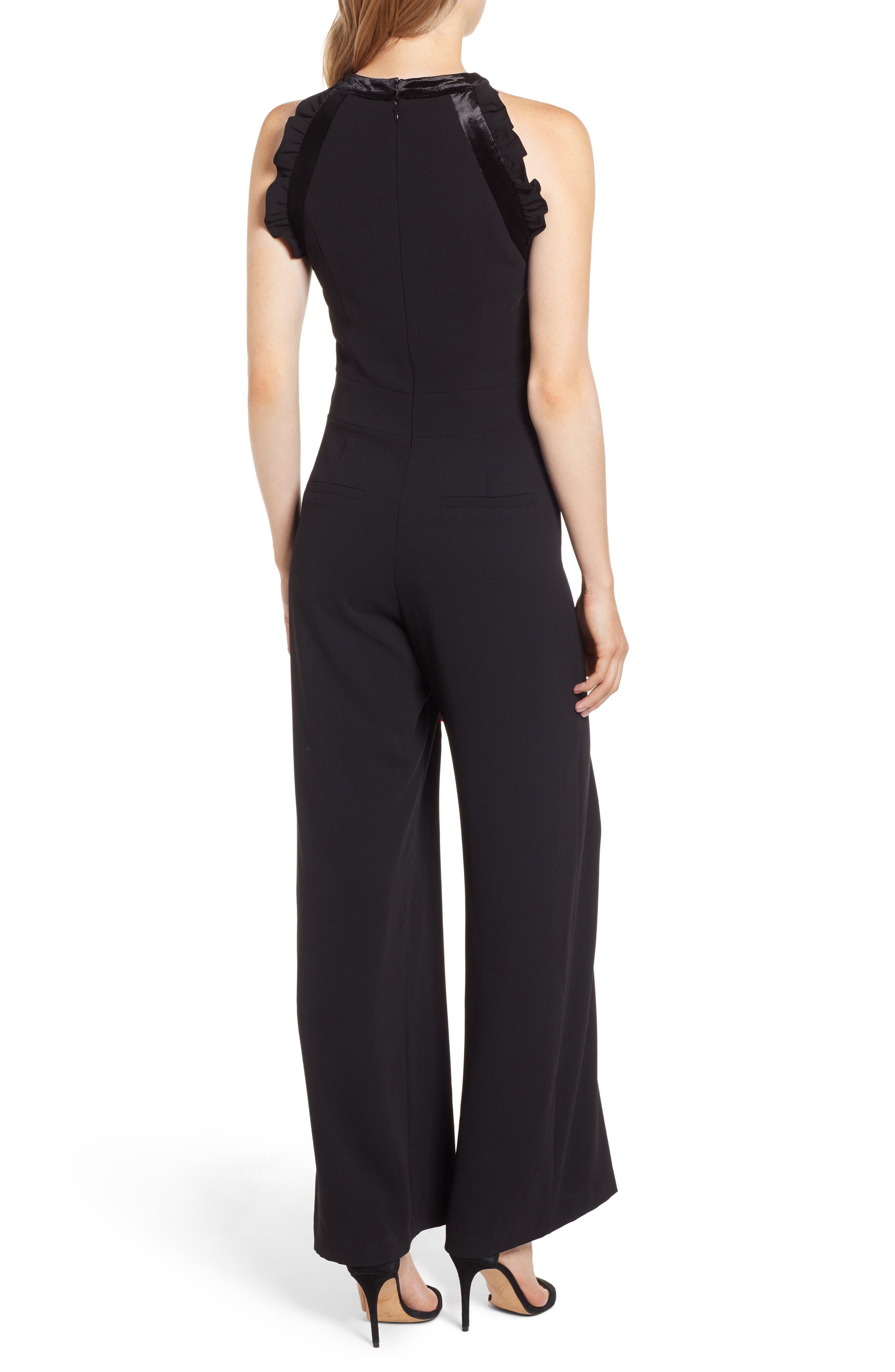Velvet Bow Detail Jumpsuit,                             Alternate thumbnail 2, color,                             RICH BLACK