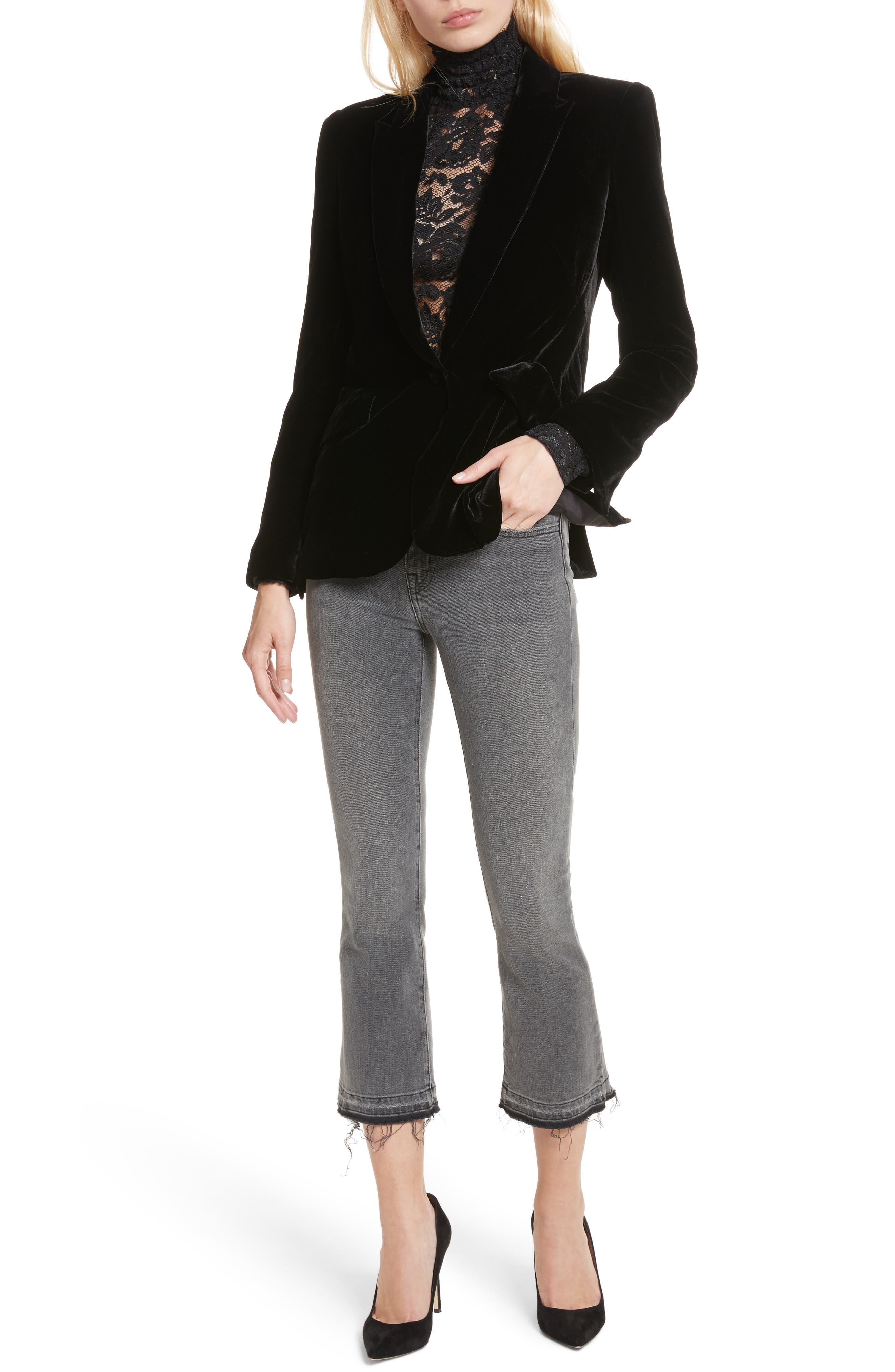 Serena High Waist Crop Flare Jeans,                             Alternate thumbnail 7, color,