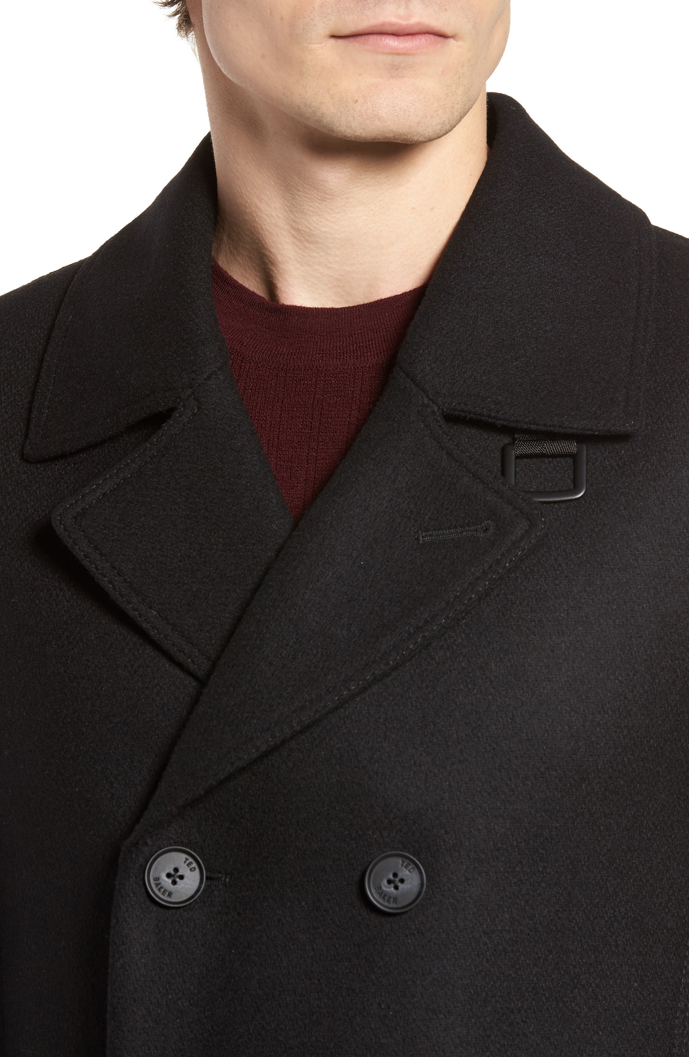 Zachary Trim Fit Double Breasted Peacoat,                             Alternate thumbnail 4, color,                             001