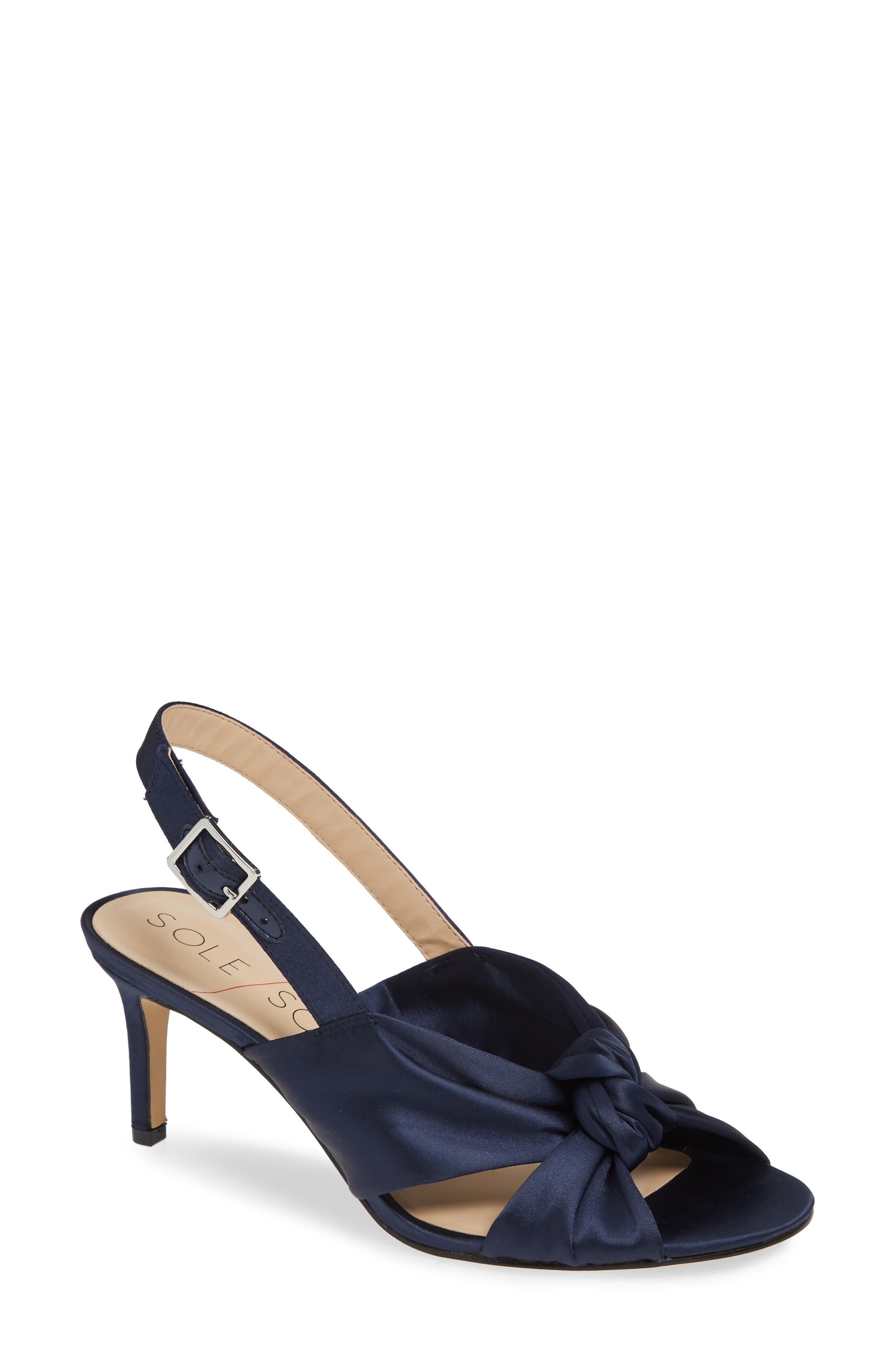 Genneene Knotted Slingback Sandal,                             Main thumbnail 1, color,                             MIDNIGHT SATIN