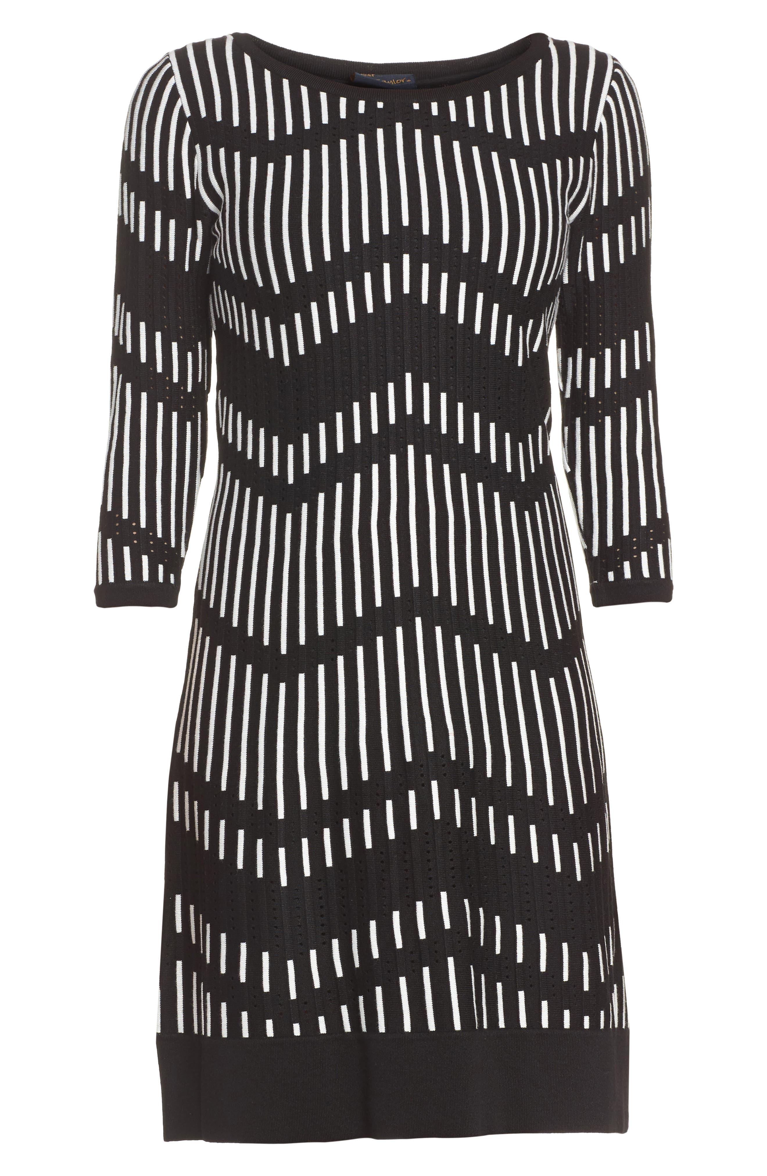 Zig Zag Sweater Dress,                             Alternate thumbnail 6, color,                             001