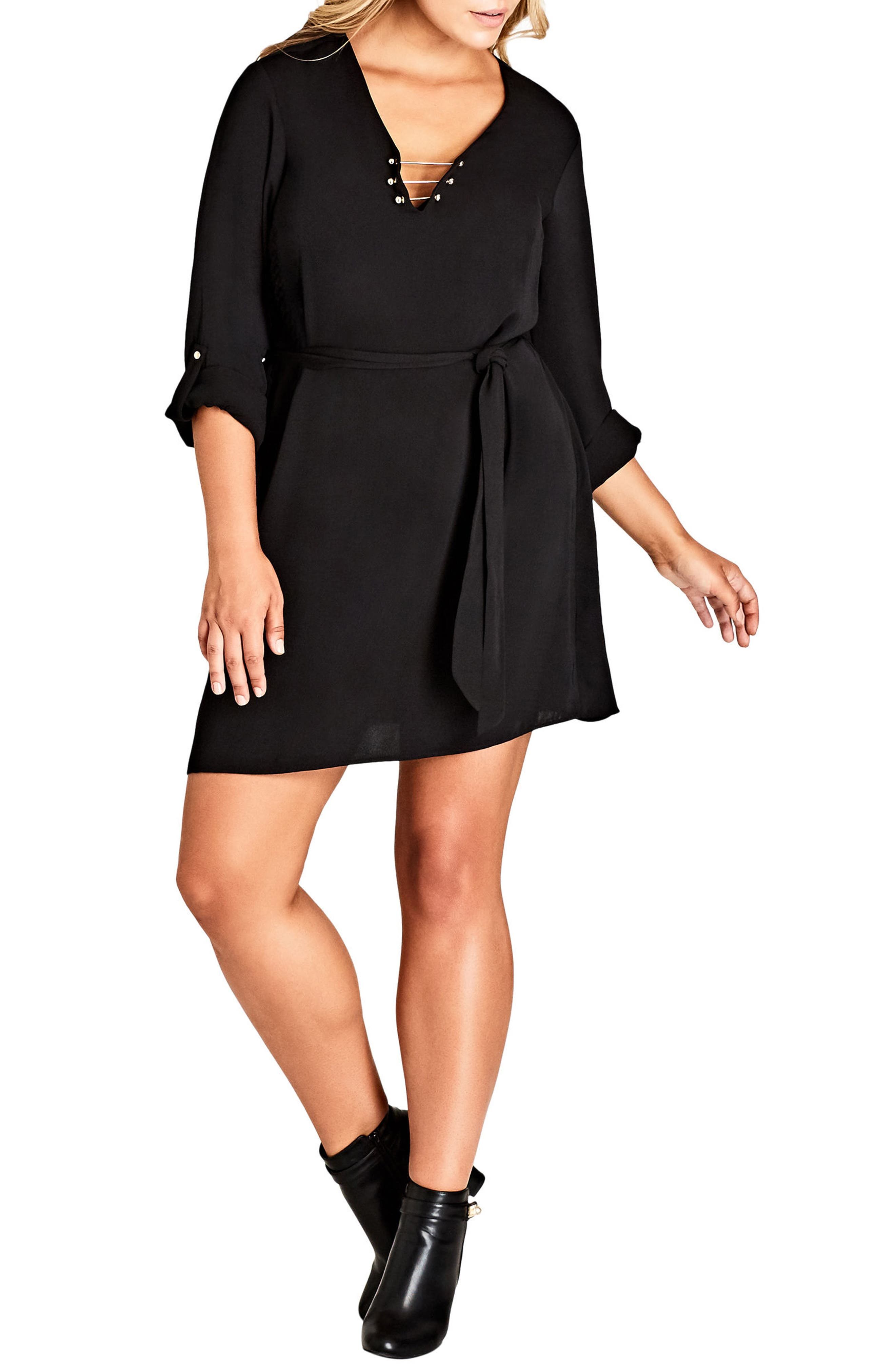 Pierced Heart Belted Tunic,                             Main thumbnail 1, color,                             001