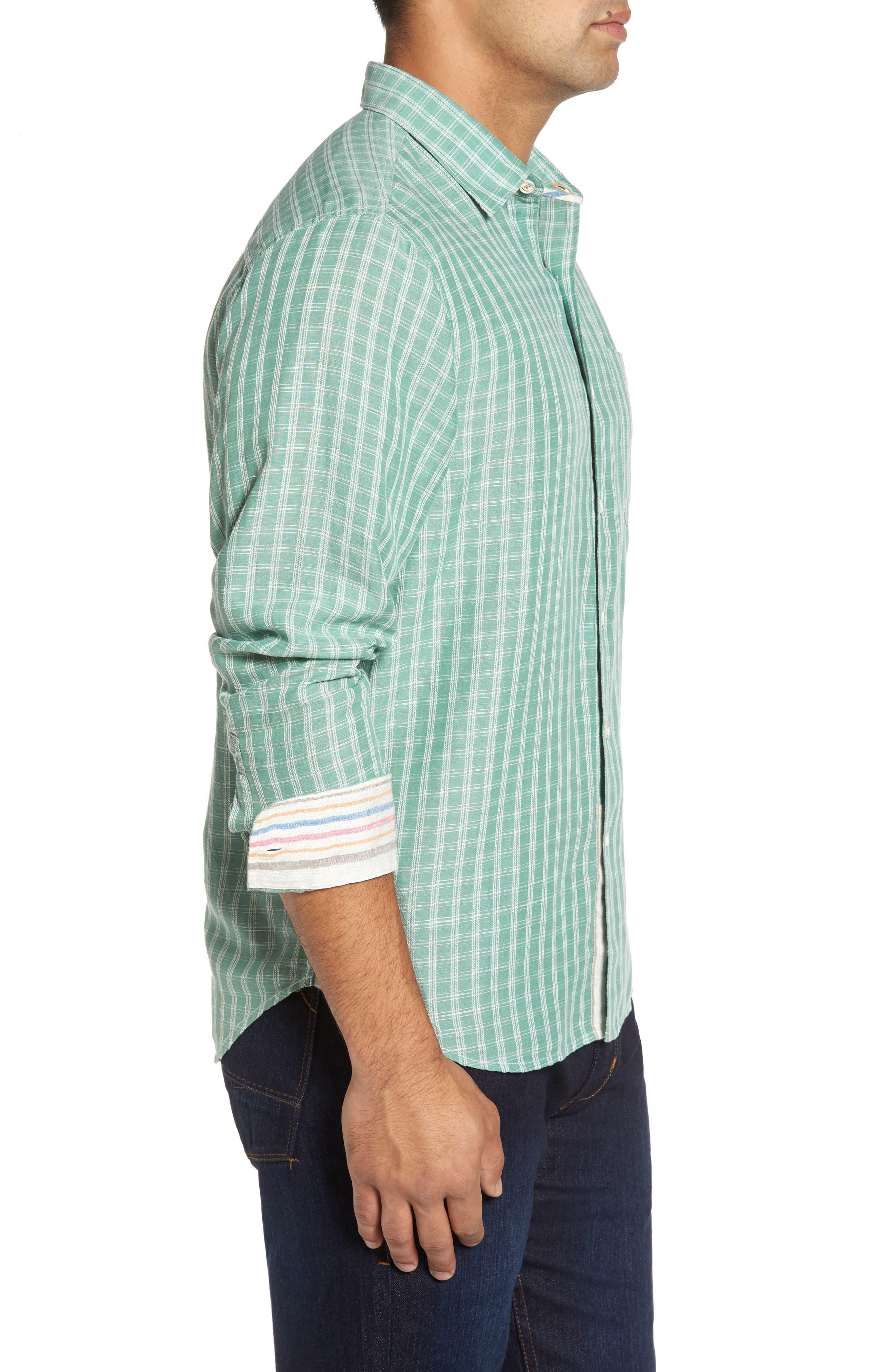 Plaid Sand Linen Blend Sport Shirt,                             Alternate thumbnail 7, color,