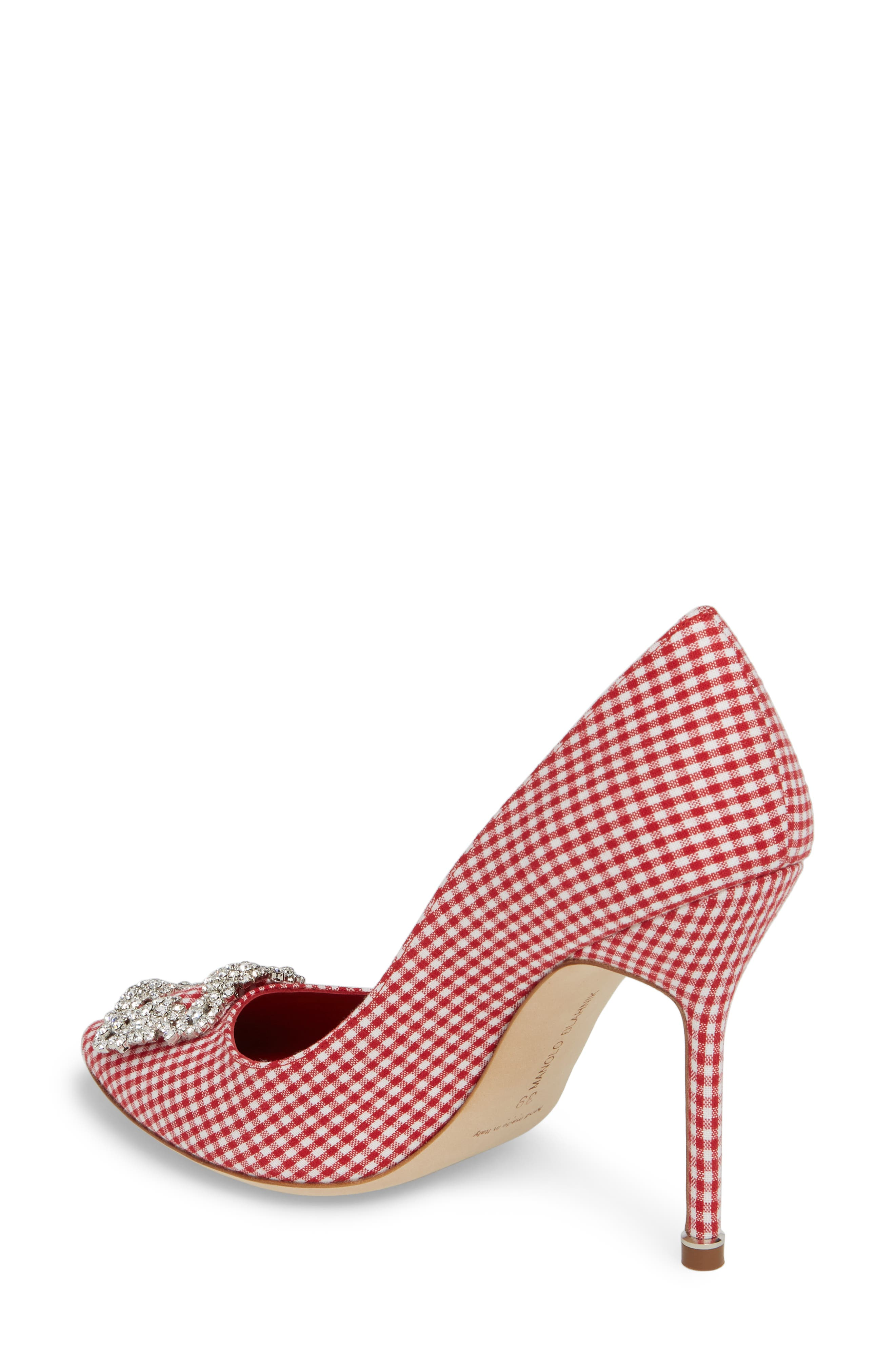 'Hangisi' Ornamented Pump,                             Alternate thumbnail 2, color,                             RED GINGHAM