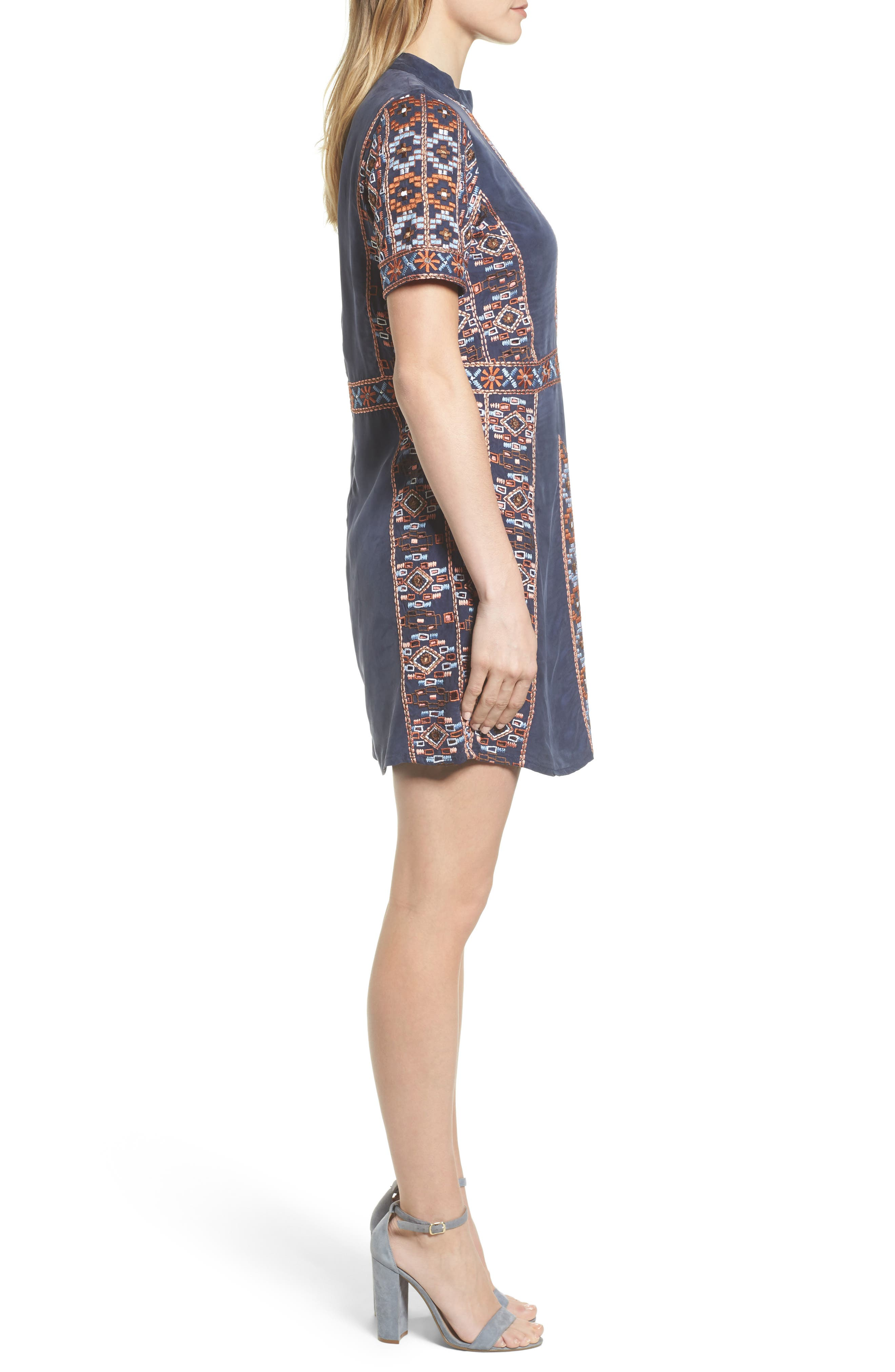 Luton Embroidered A-Line Dress,                             Alternate thumbnail 3, color,                             NAVY