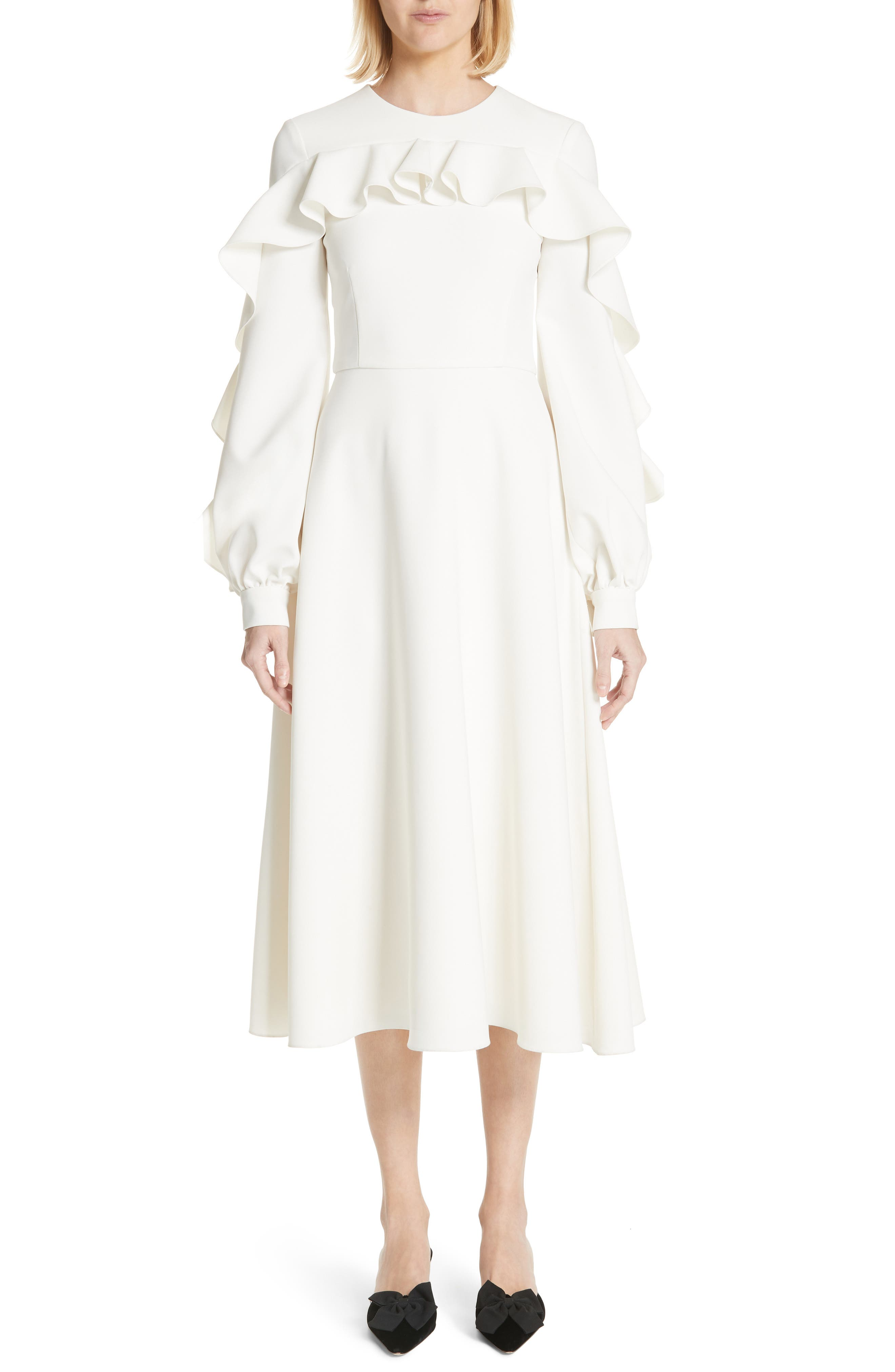 Long Sleeve Ruffle Detail Cocktail Dress, Main, color, 100