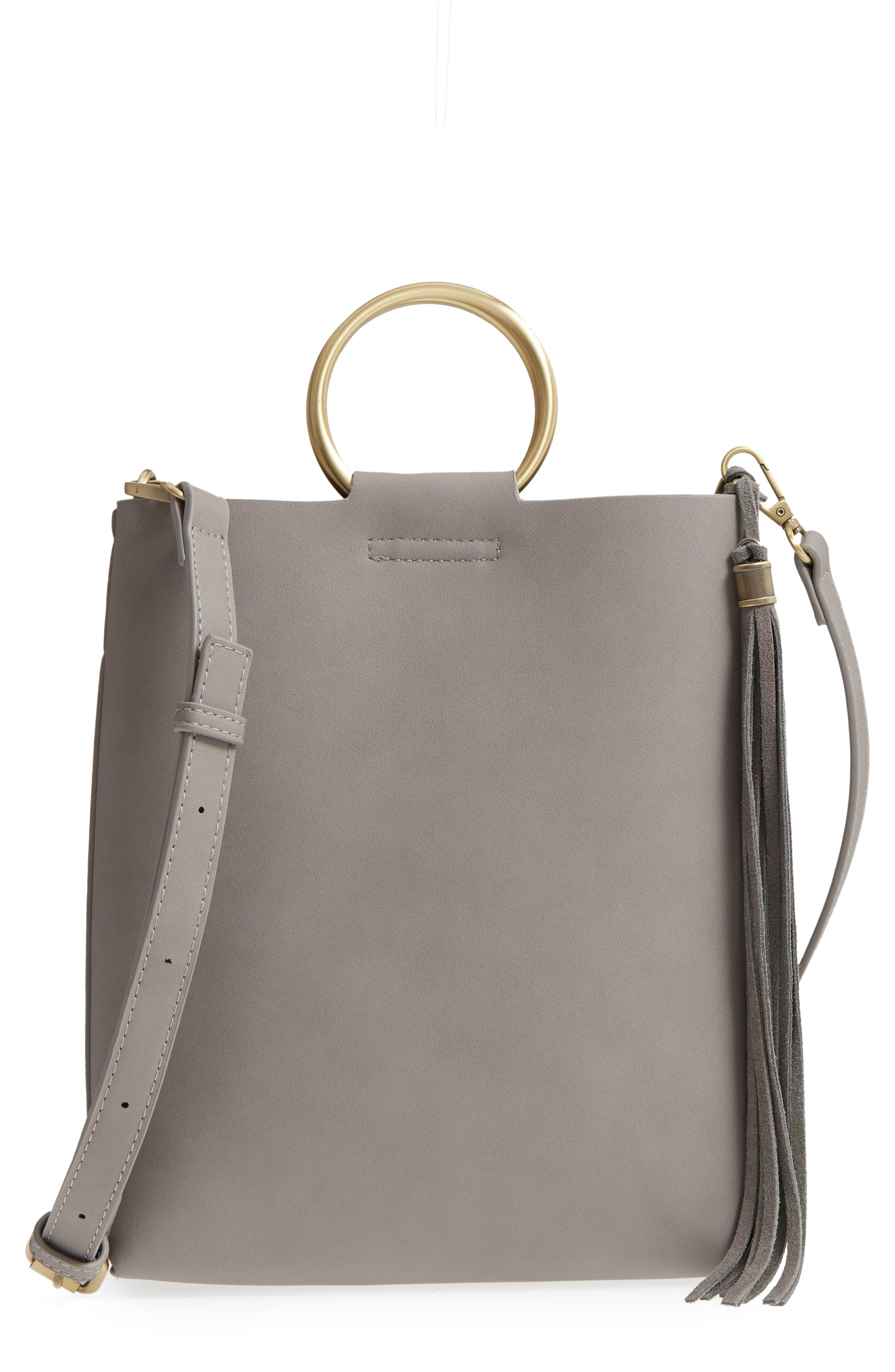 Metal Handle Faux Leather Crossbody Bag,                         Main,                         color, 020