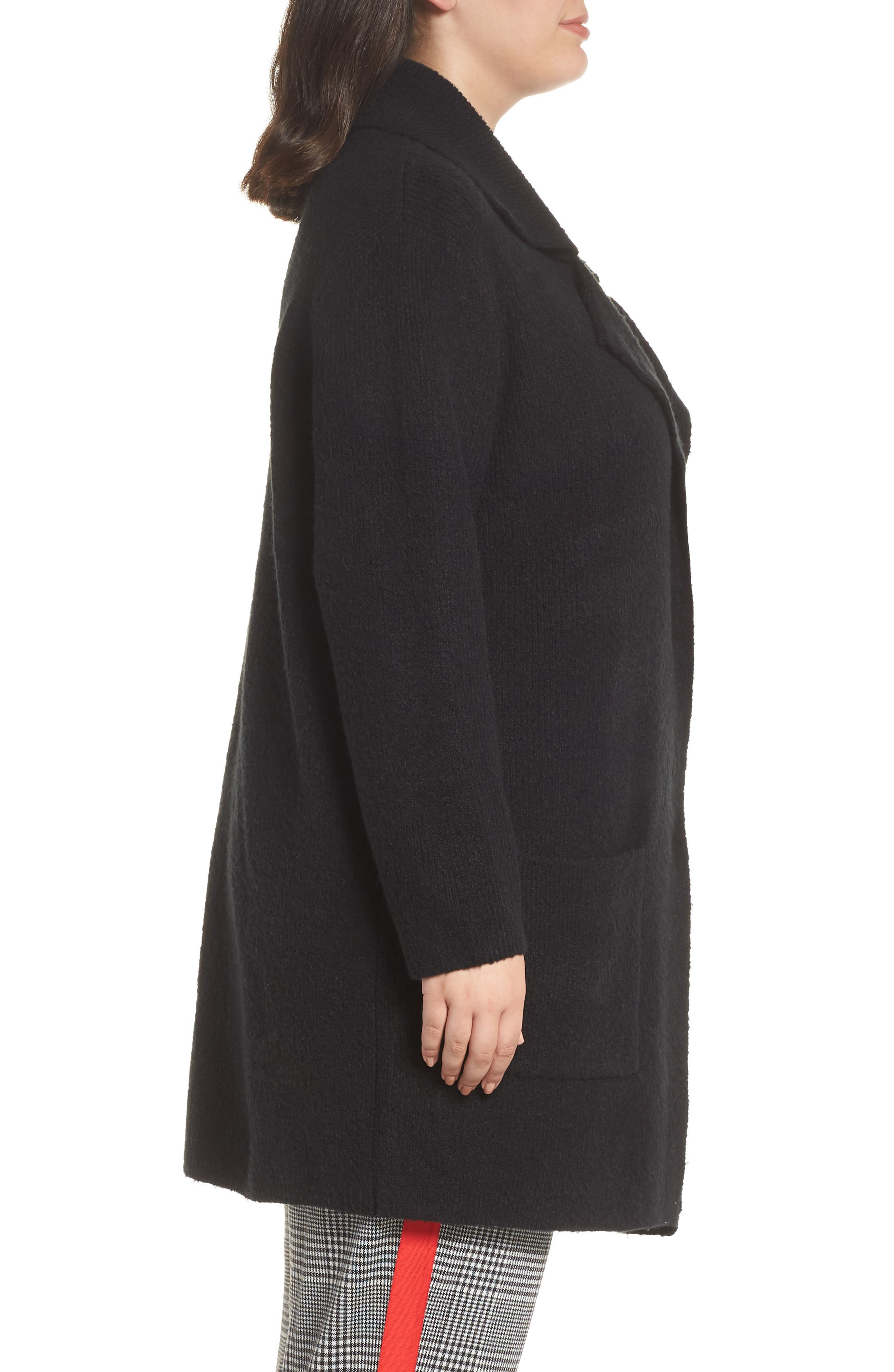 Sweater Coat,                             Alternate thumbnail 3, color,                             BLACK
