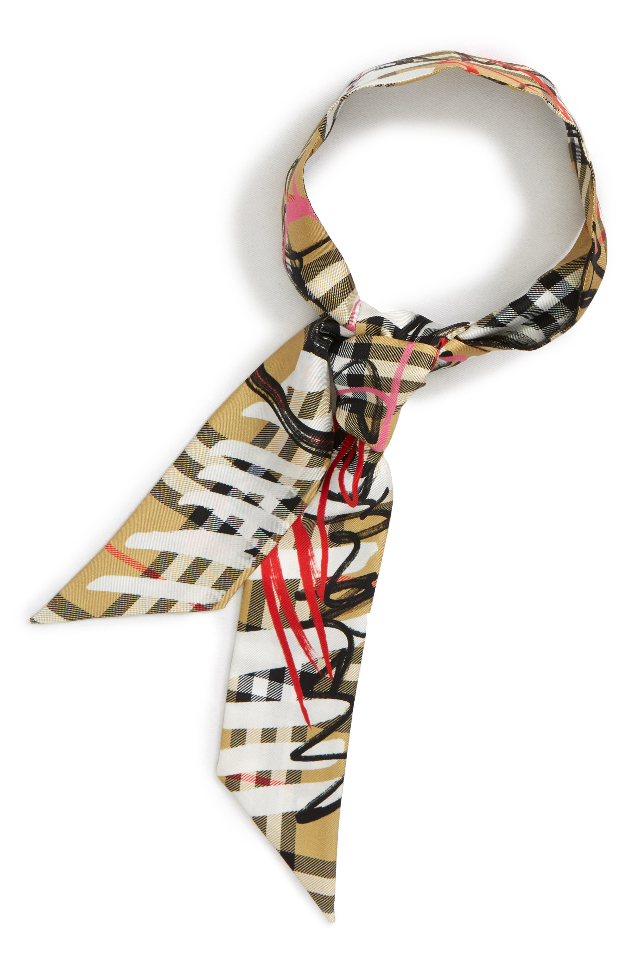 Scribble Vintage Check Silk Scarf,                             Alternate thumbnail 3, color,                             742