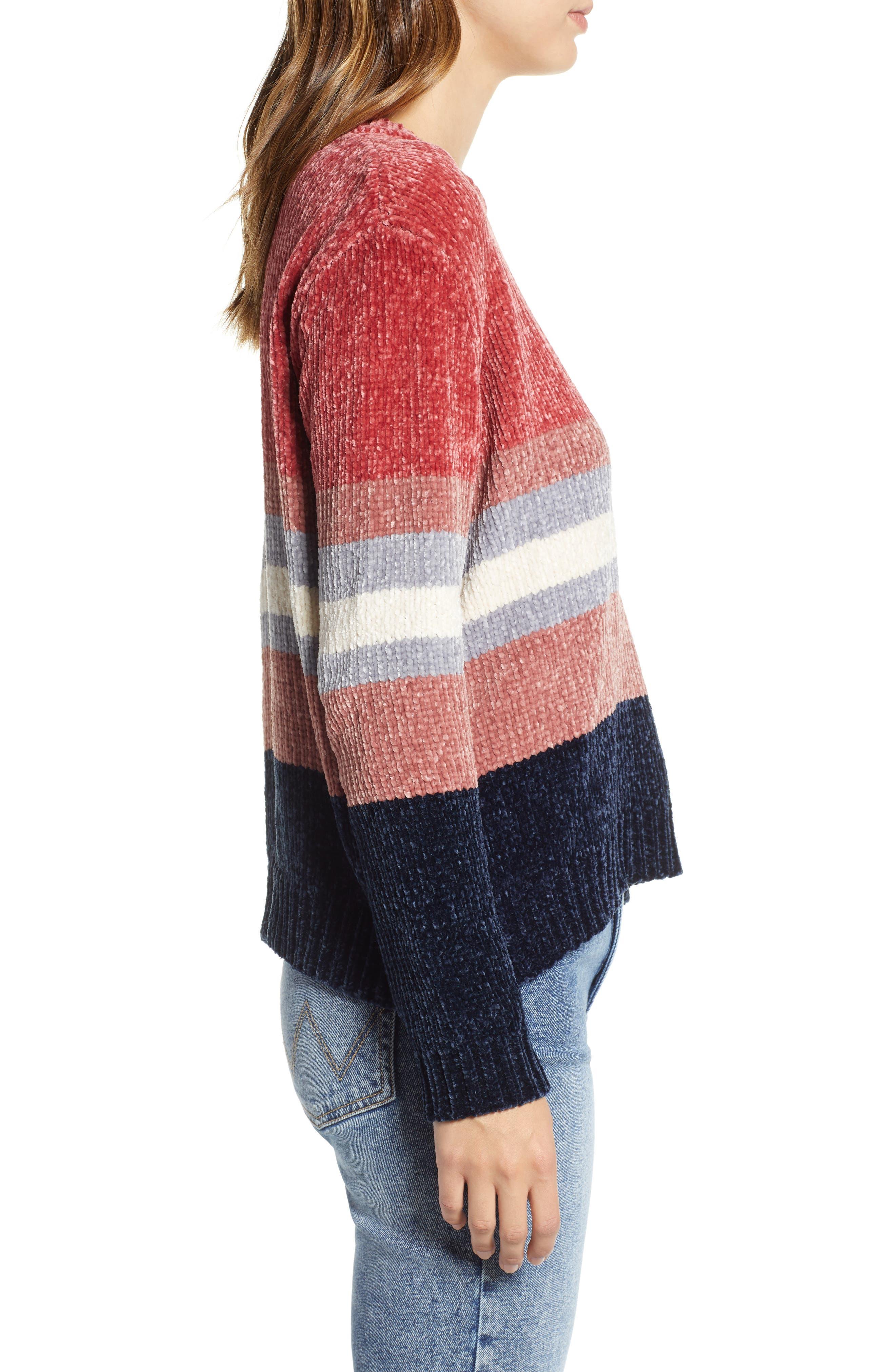 Stripe Chenille Sweater,                             Alternate thumbnail 3, color,                             PINK