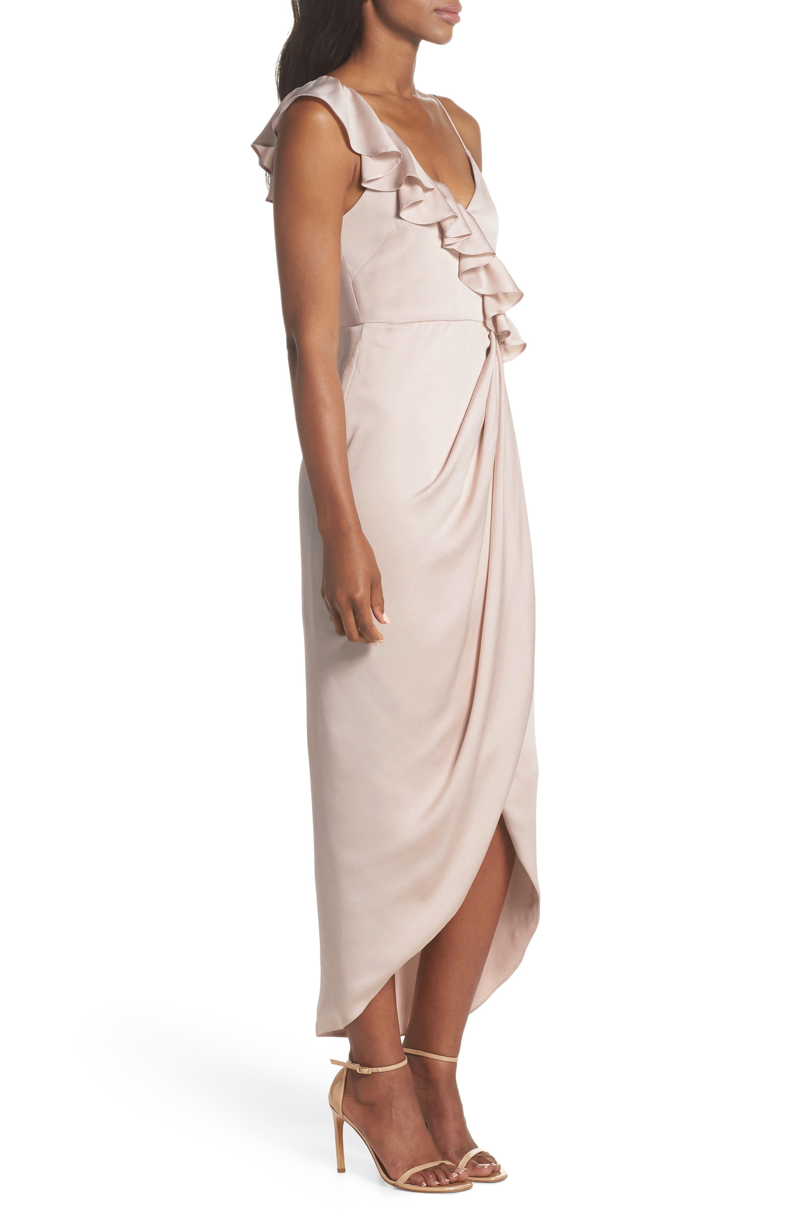 Luxe Asymmetrical Frill Maxi Dress,                             Alternate thumbnail 3, color,                             PORCELAIN