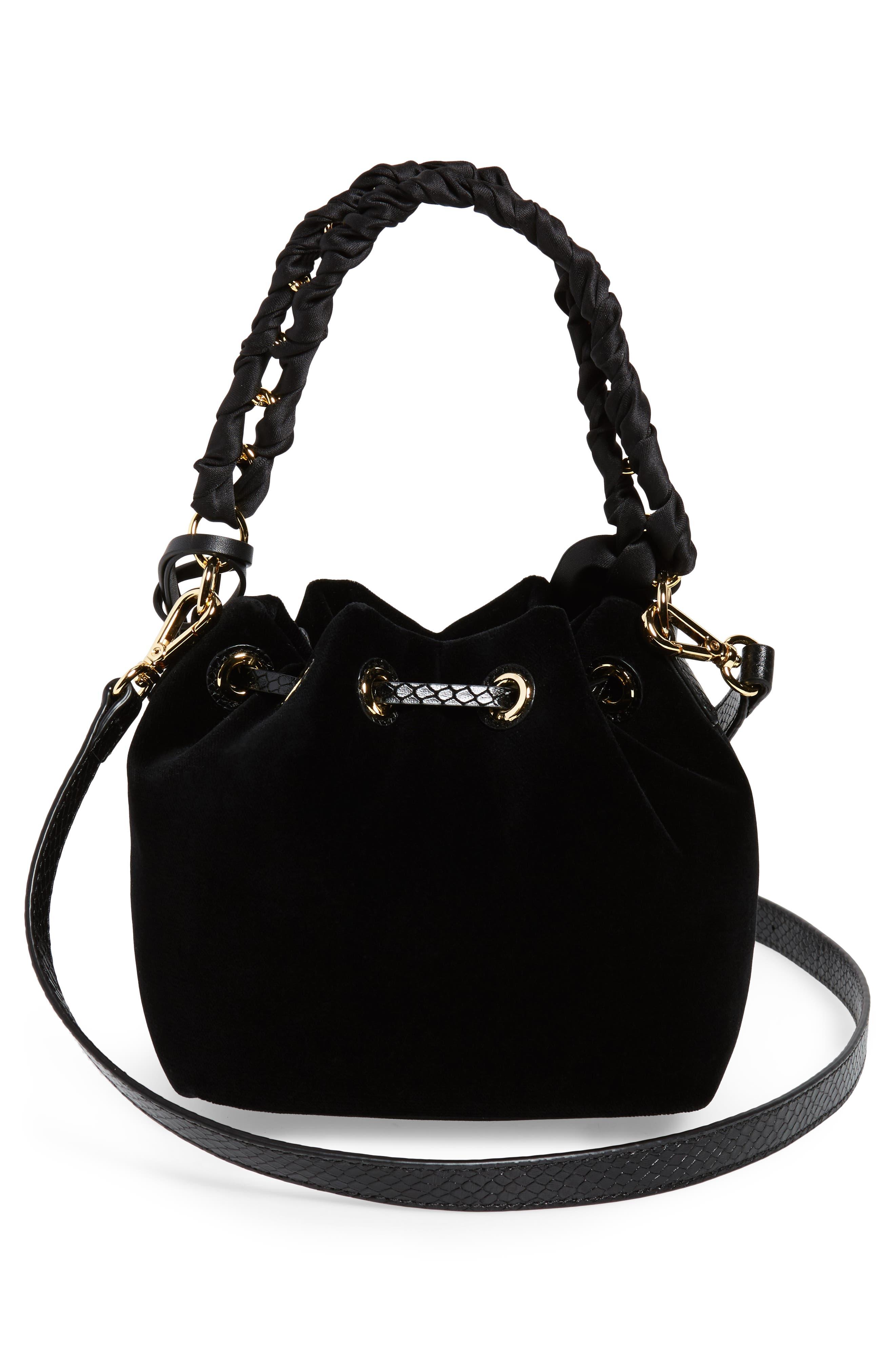 Small Velvet Bucket Bag,                             Alternate thumbnail 3, color,                             001