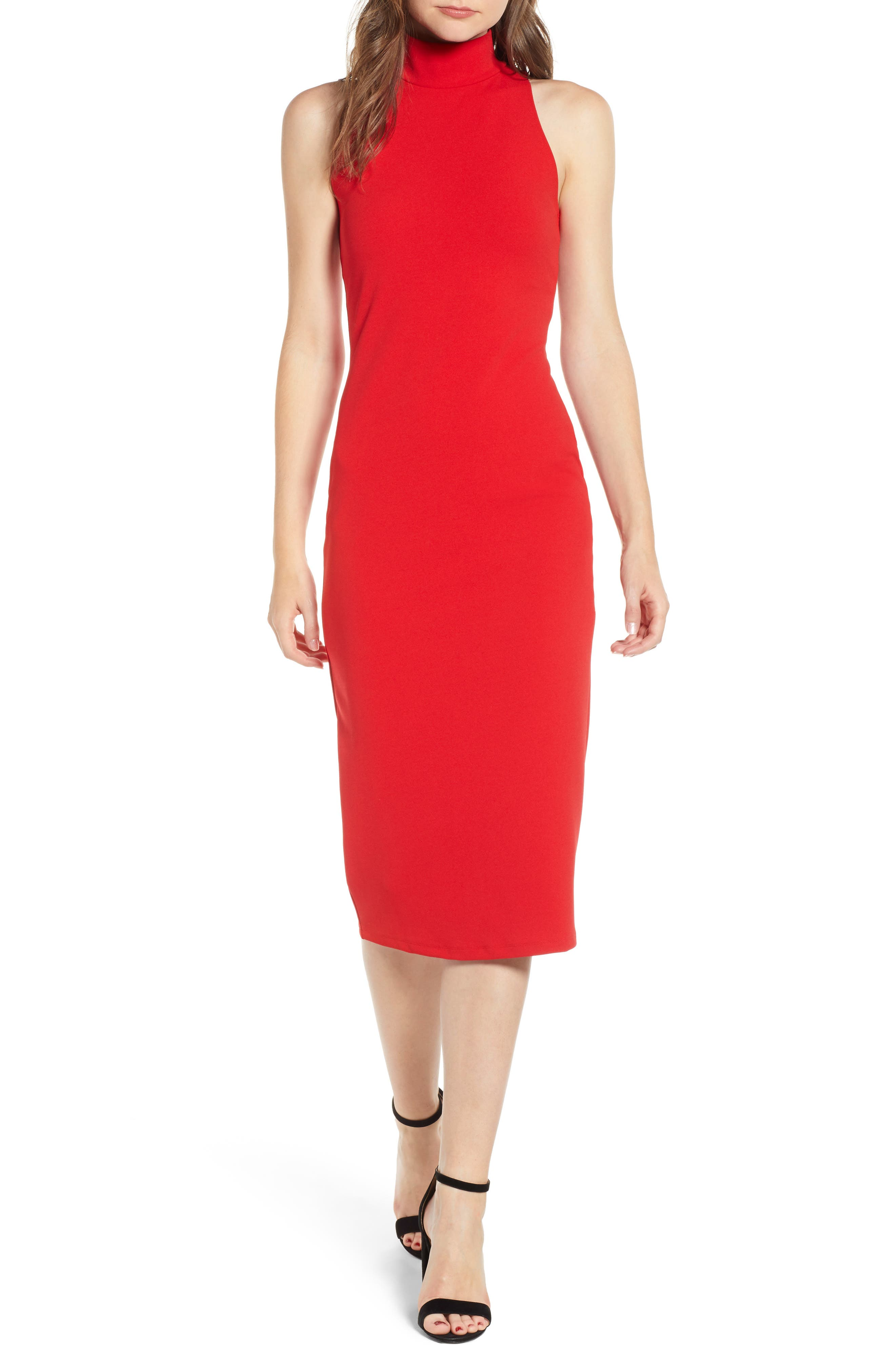 Leith Mock Neck Body-Con Dress, Red