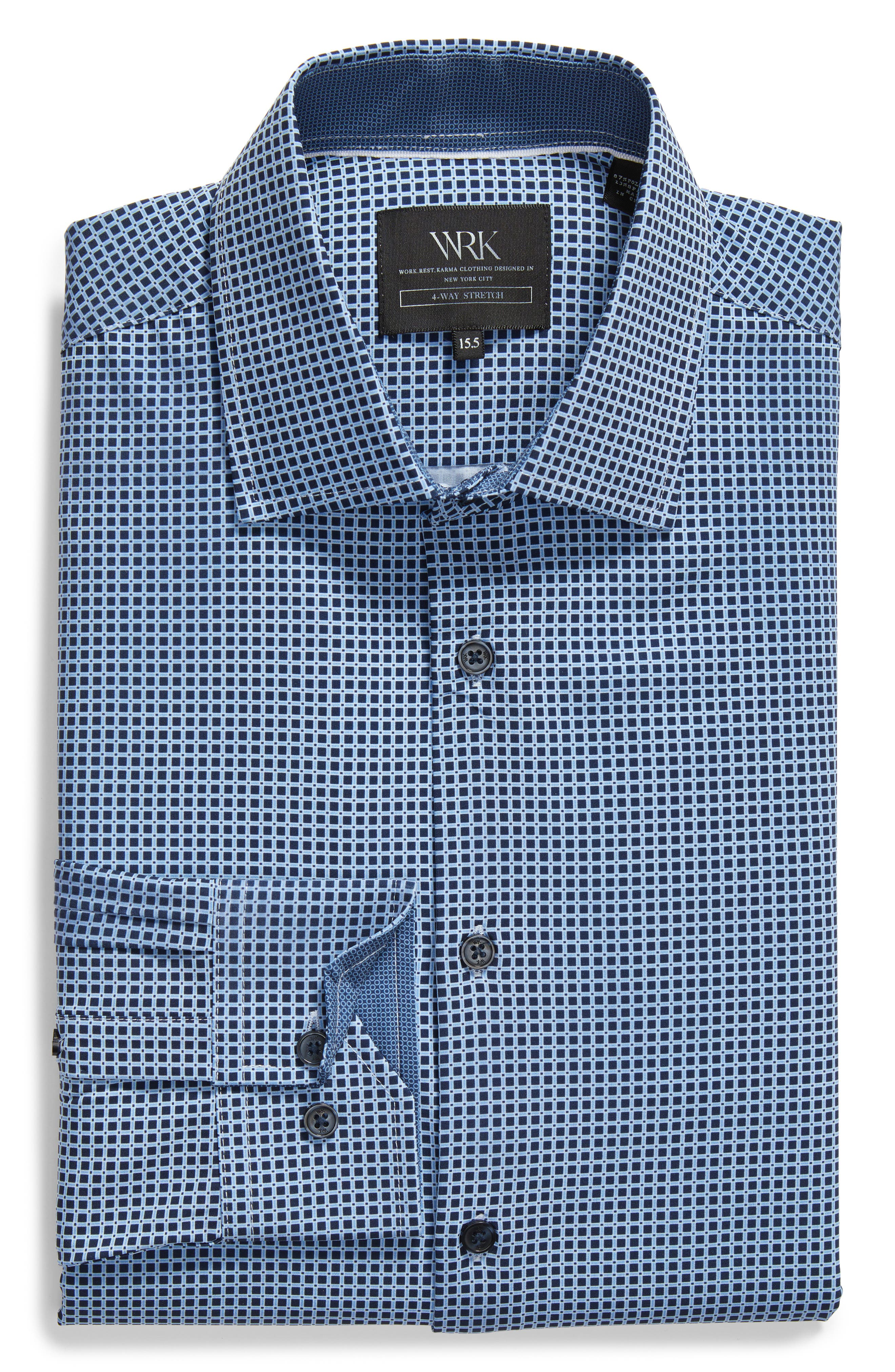 Trim Fit Check 4-Way Stretch Dress Shirt,                             Alternate thumbnail 5, color,                             NAVY