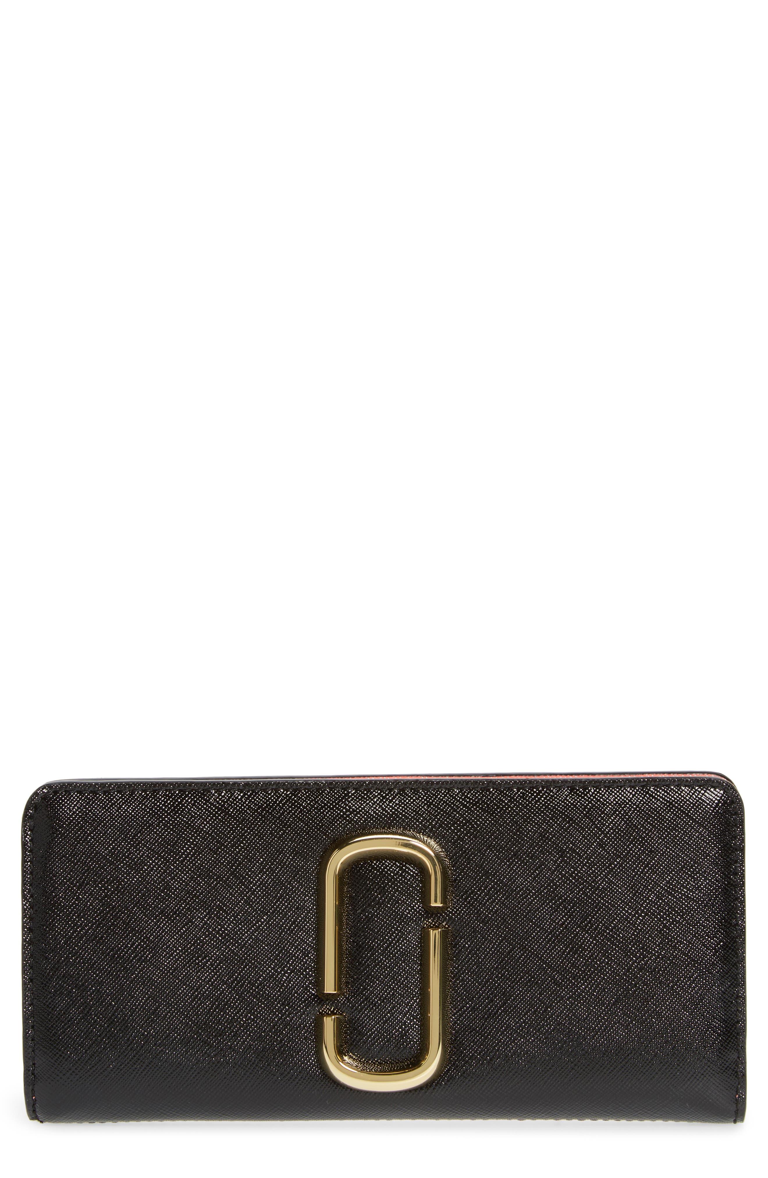 Snapshot Open Face Leather Wallet,                             Main thumbnail 1, color,                             BLACK/ ROSE