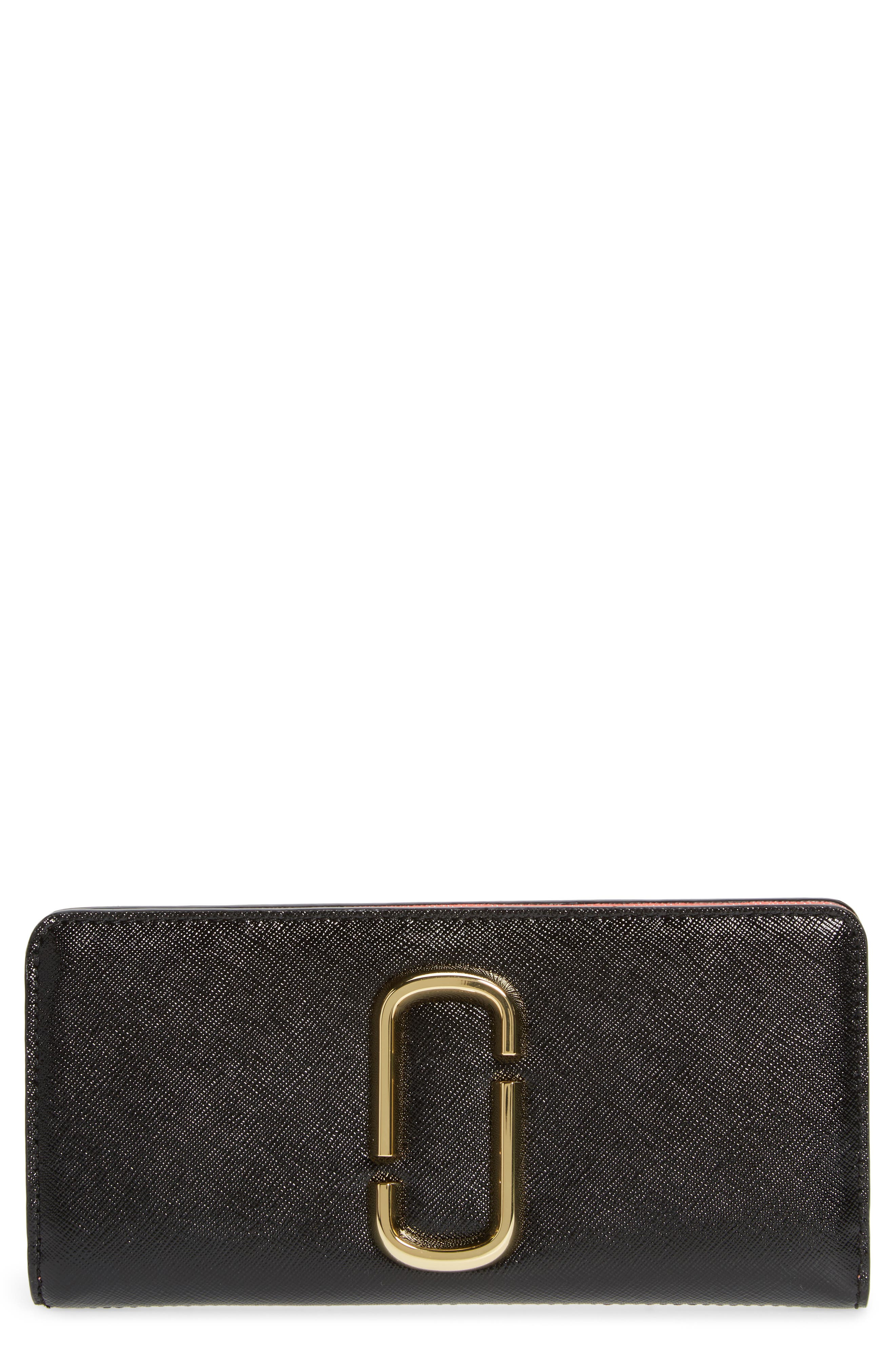 Snapshot Open Face Leather Wallet,                         Main,                         color, BLACK/ ROSE