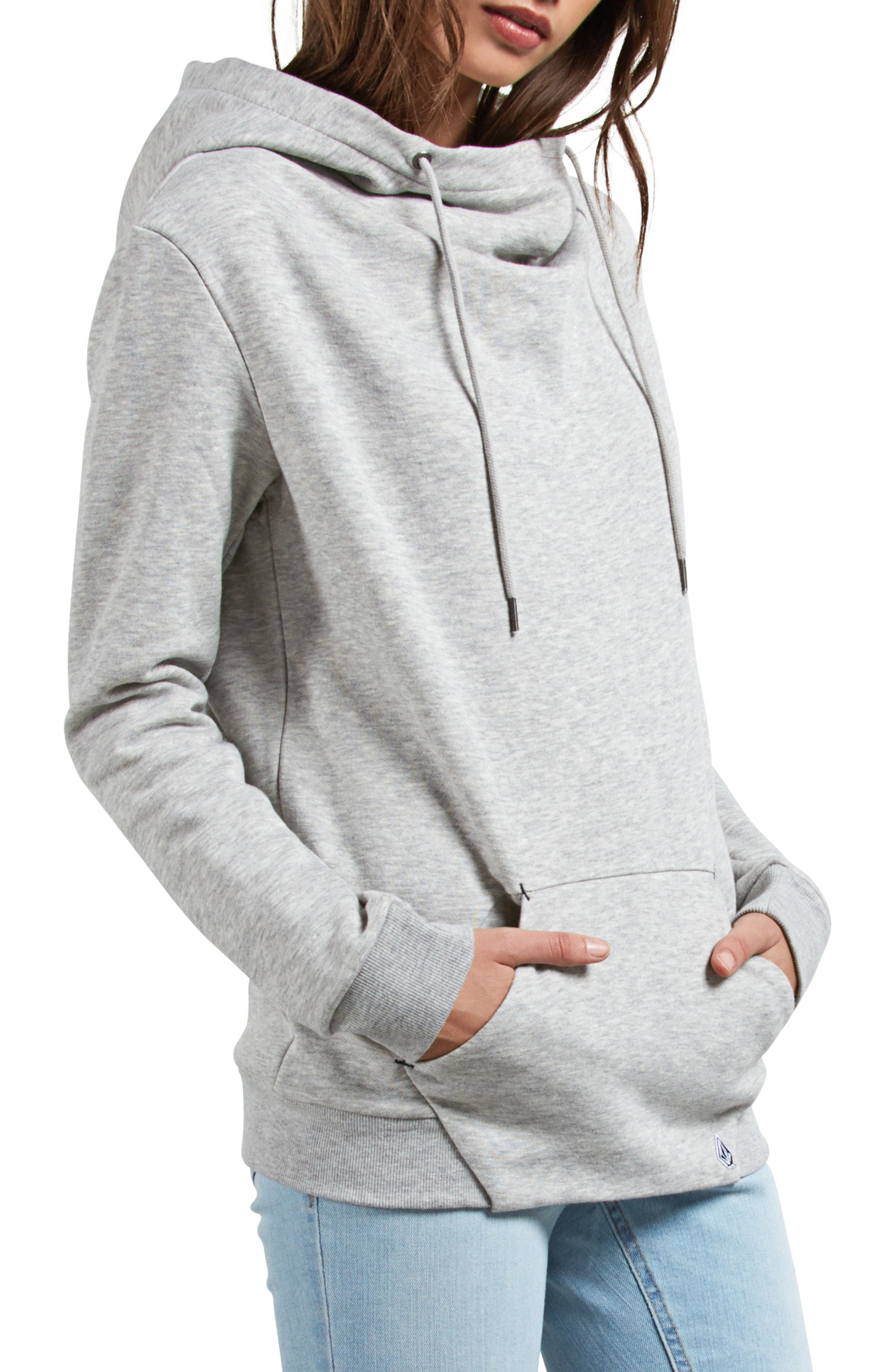 Walk On By Funnel Neck Hoodie,                             Alternate thumbnail 3, color,                             HEATHER GREY