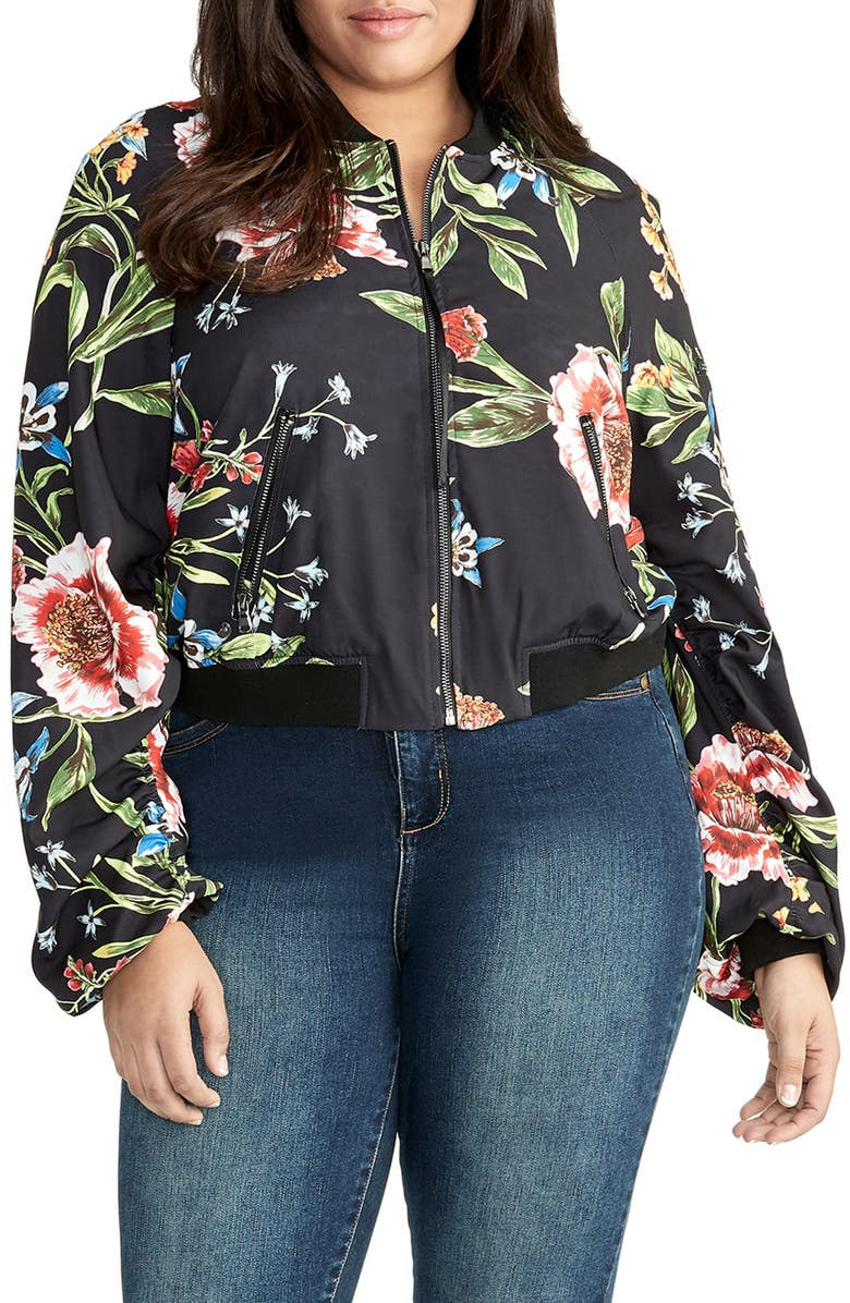 1d7346f710d RACHEL Rachel Roy Nicole Floral Bomber Jacket (Plus Size)