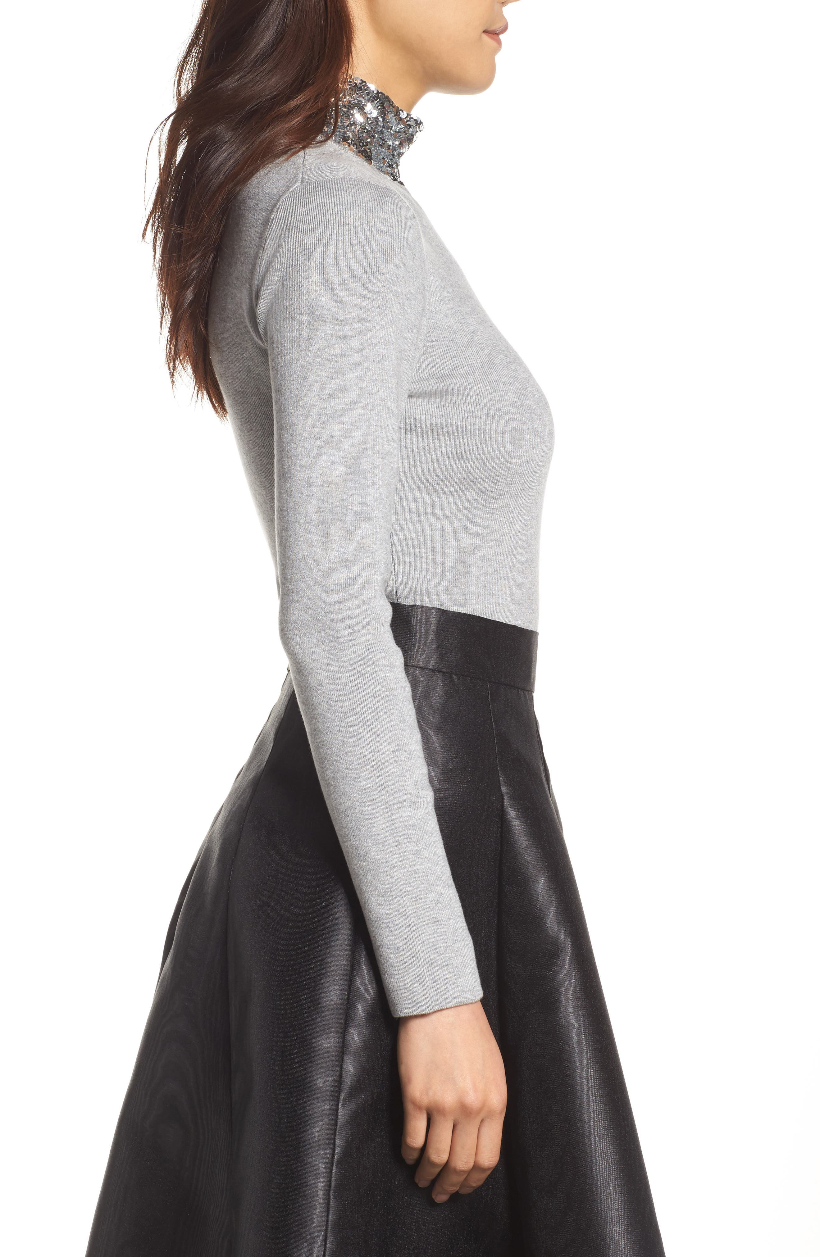 Sequin Mock Neck Sweater,                             Alternate thumbnail 3, color,                             030