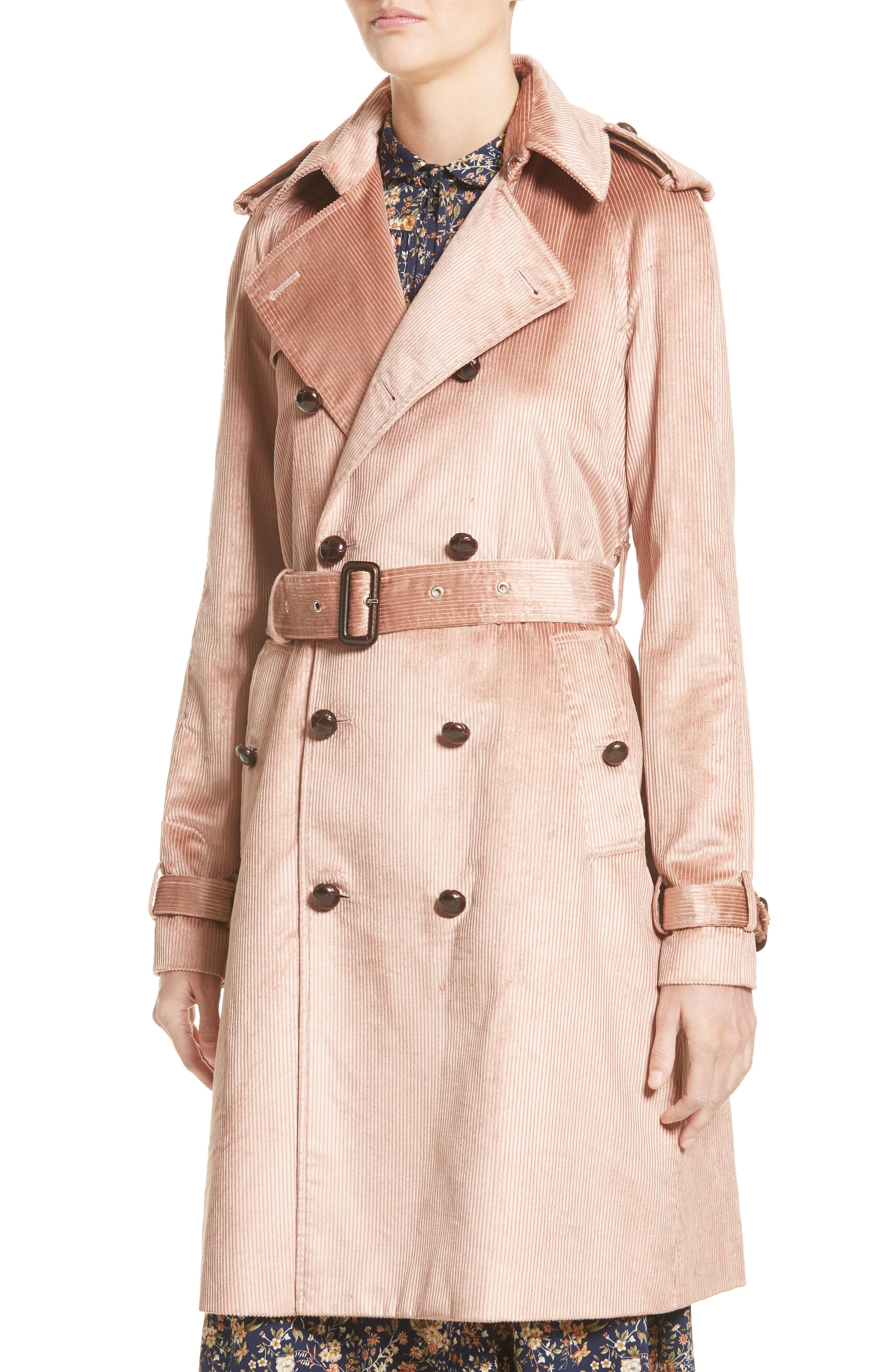 Corduroy Belted Trench Coat,                             Alternate thumbnail 4, color,                             680