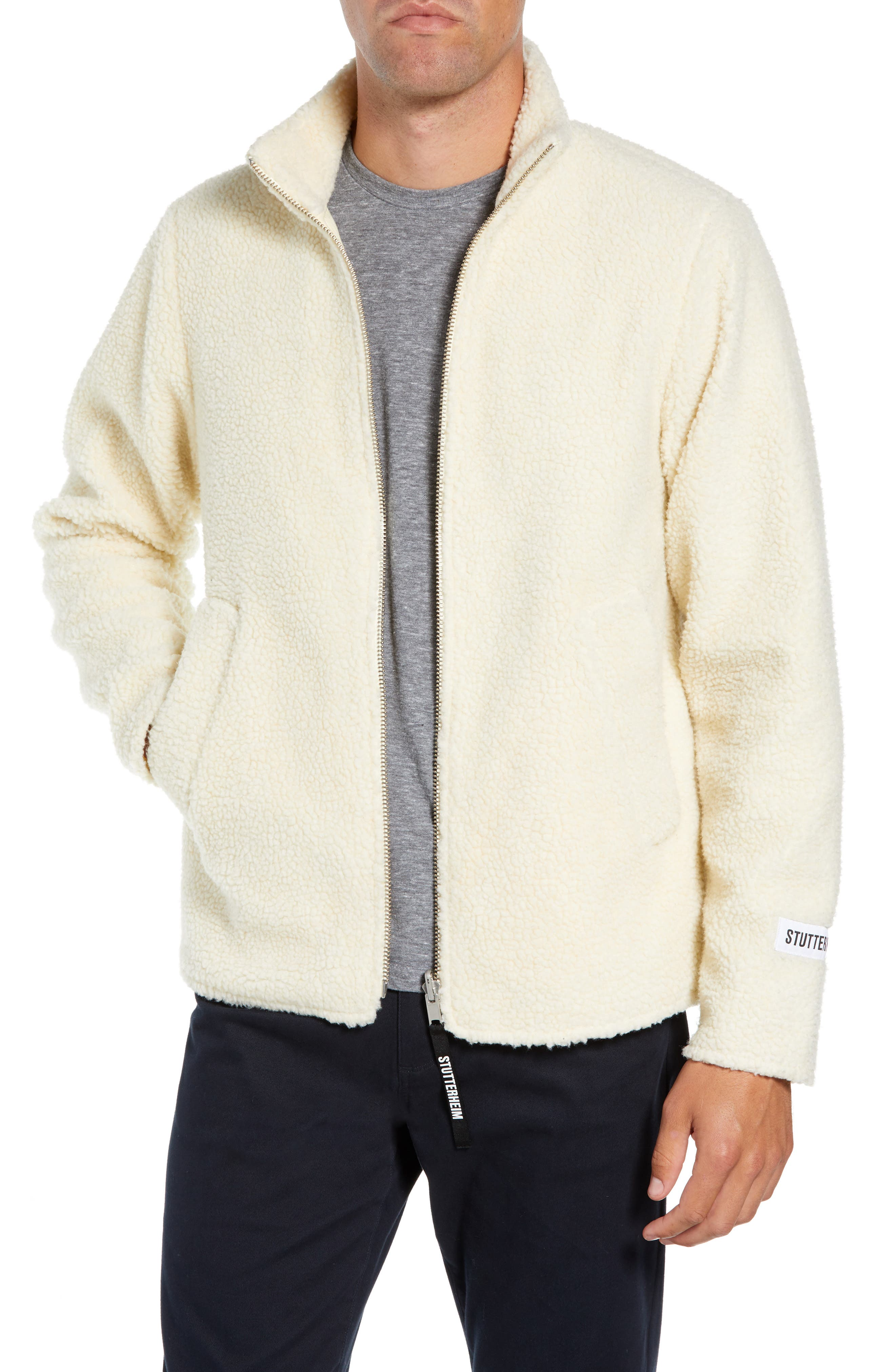 Stutterheim Varby Reversible Fleece Jacket, White