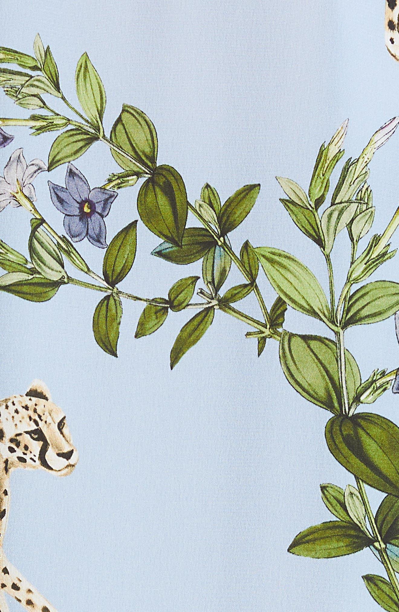 Nina Cheetah & Floral Print Silk Blouse,                             Alternate thumbnail 5, color,                             SKY BLUE MULTI