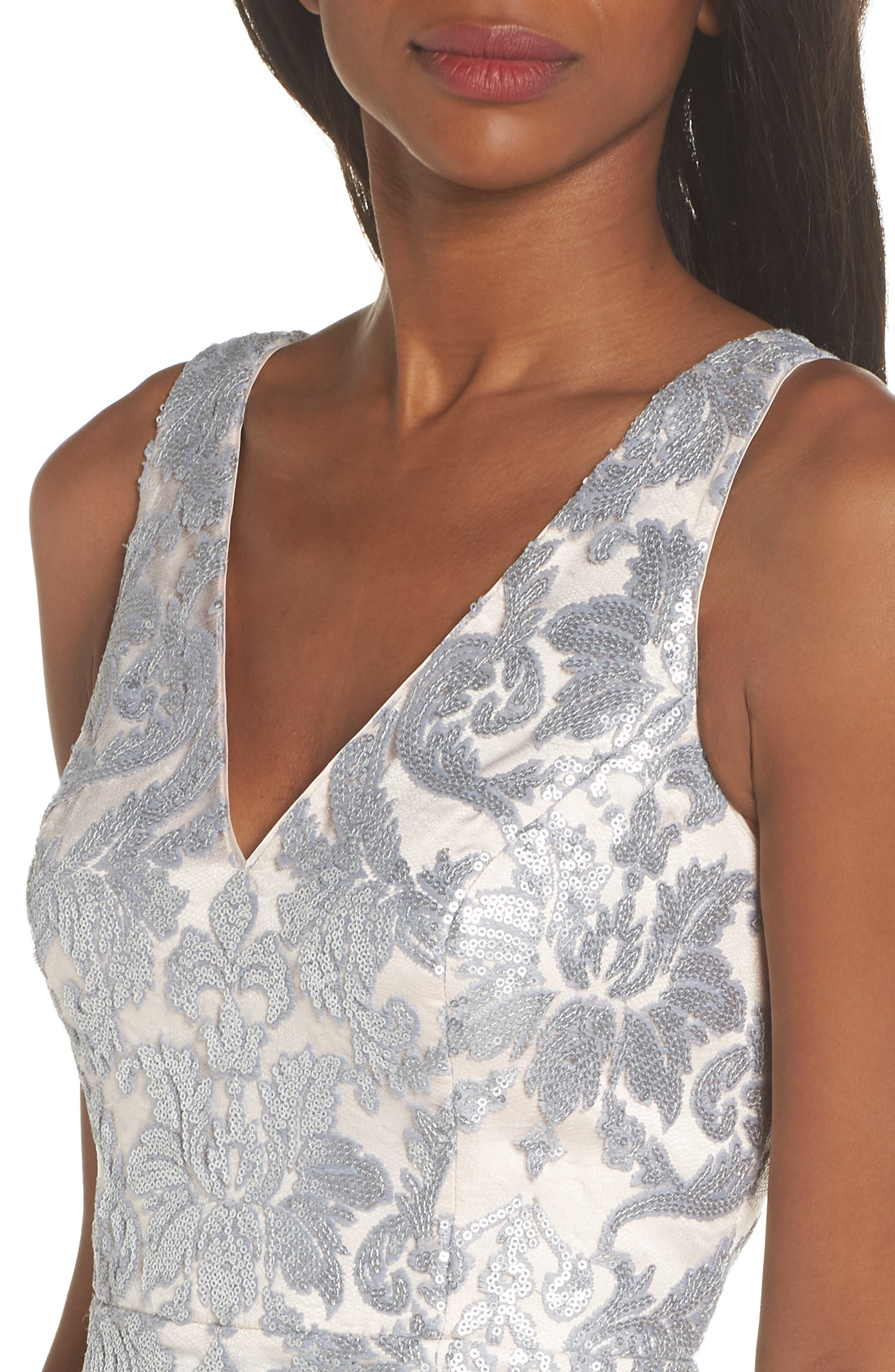 ELIZA J,                             Embroidered Evening Dress,                             Alternate thumbnail 4, color,                             SILVER