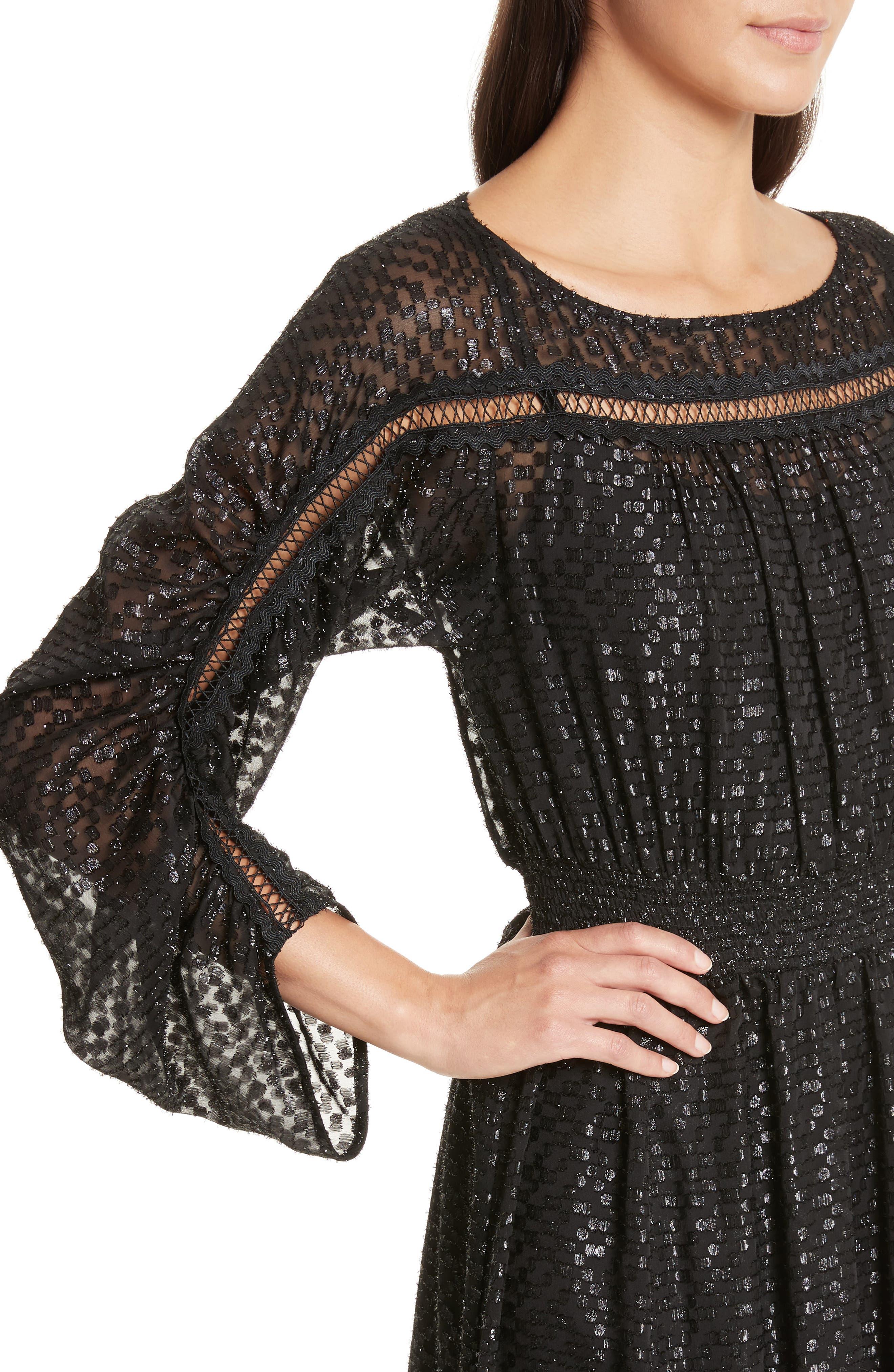 Long Sleeve Metallic Dot Midi Dress,                             Alternate thumbnail 4, color,                             001