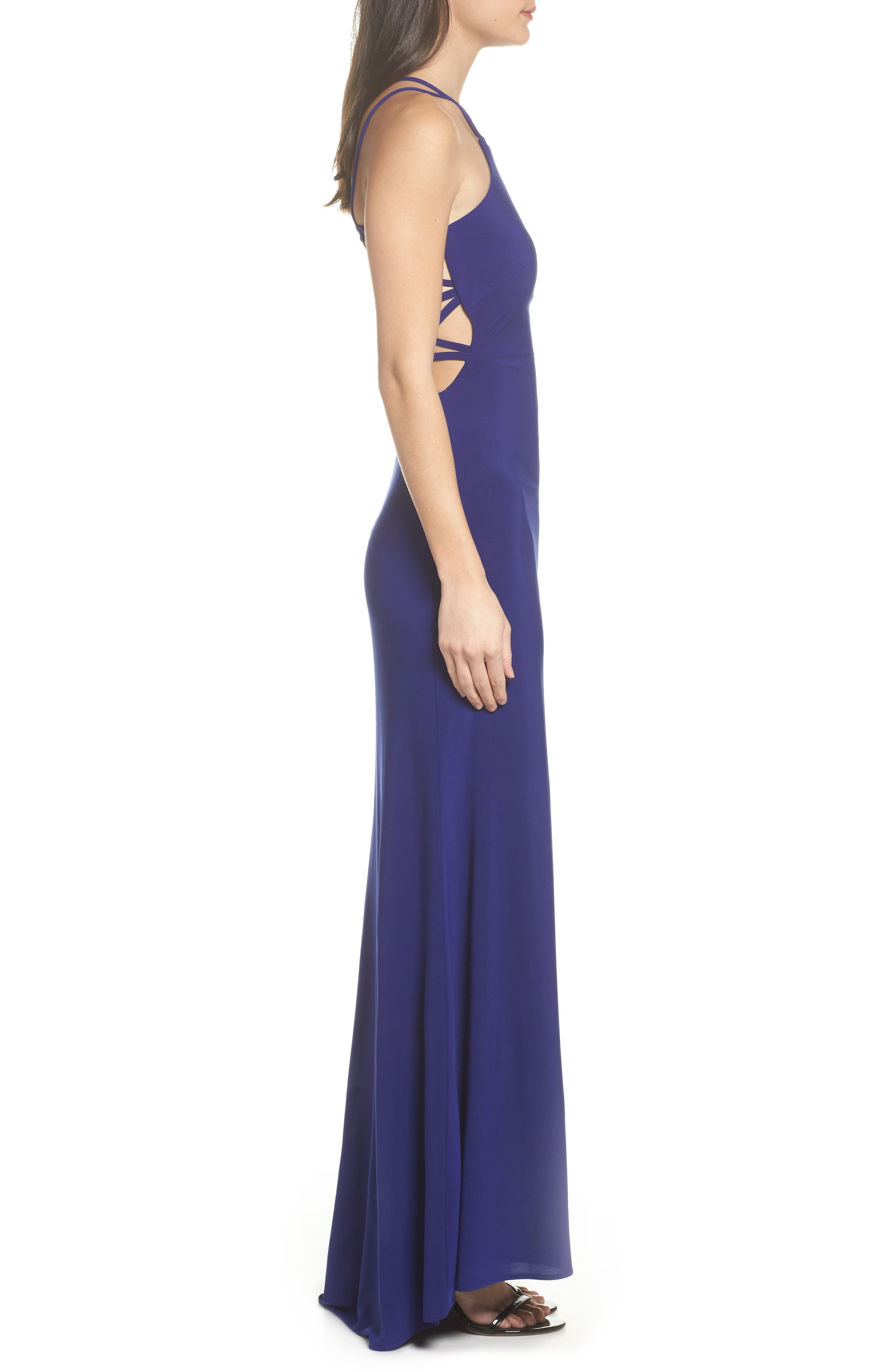 MORGAN & CO.,                             Strappy Trumpet Gown,                             Alternate thumbnail 3, color,                             ELECTRIC BLUE