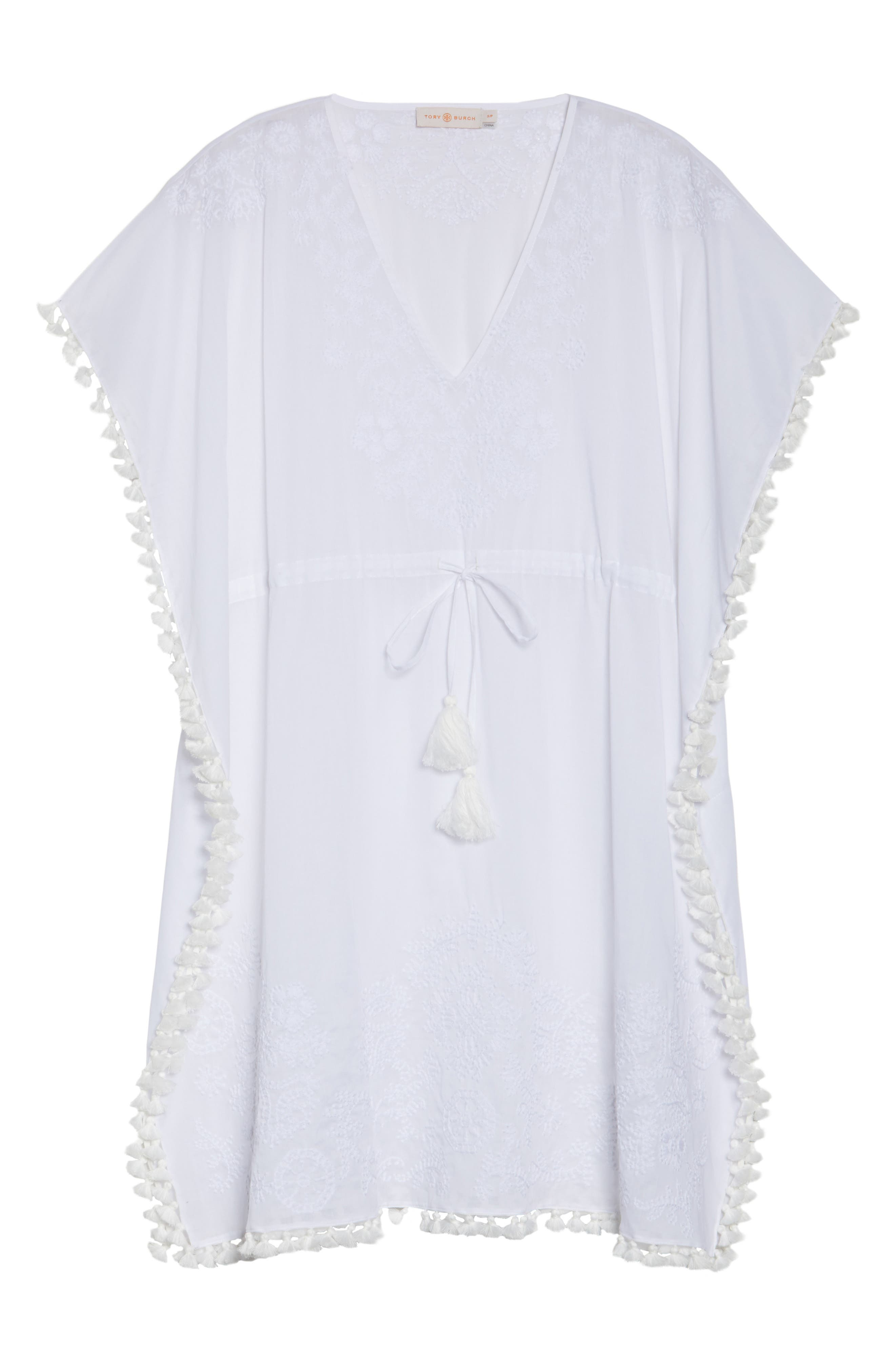 Embroidered Cover-Up Caftan,                             Alternate thumbnail 6, color,                             WHITE / WHITE