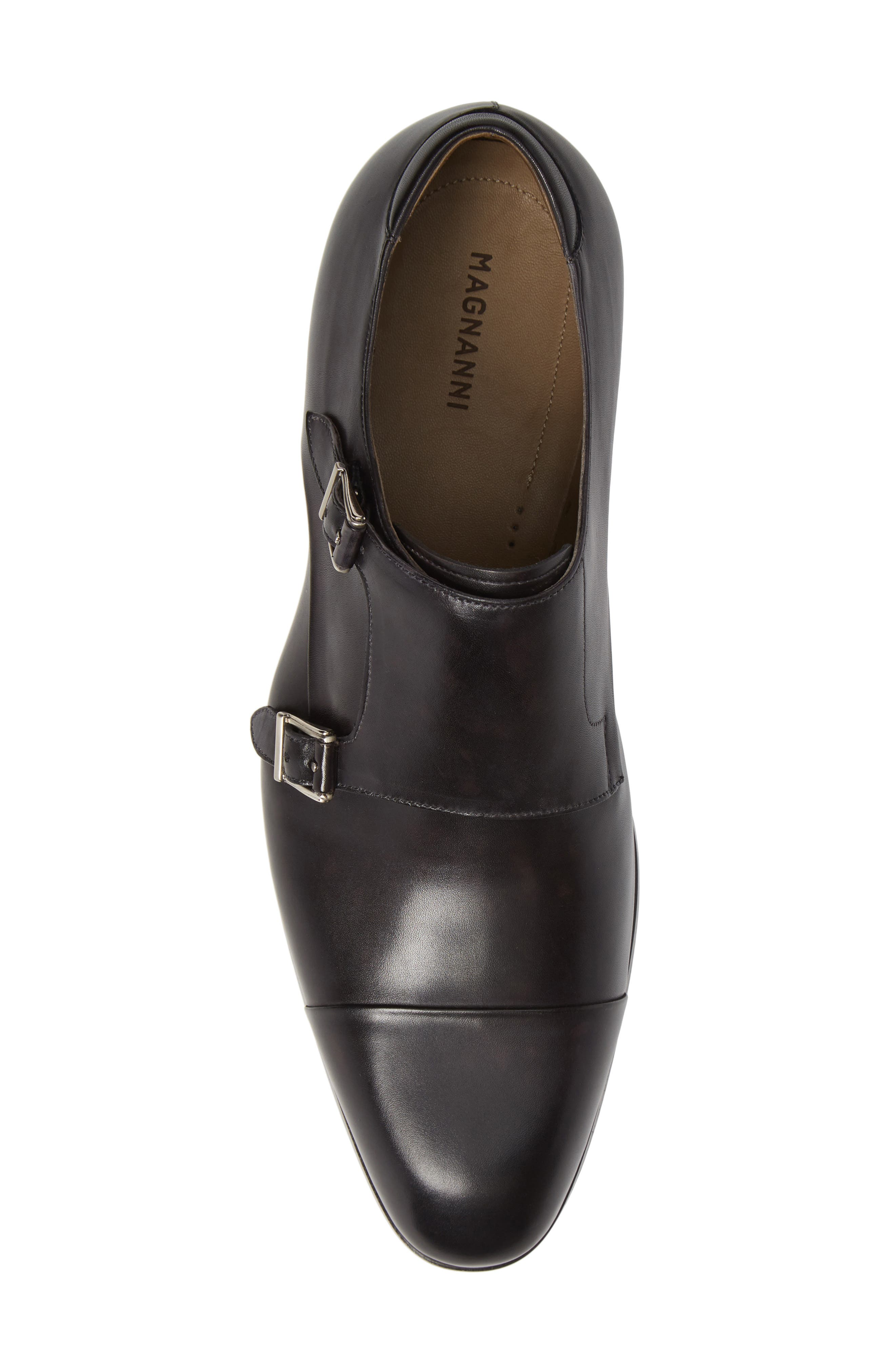 Riva Double Monk Strap Shoe,                             Alternate thumbnail 5, color,                             GREY LEATHER