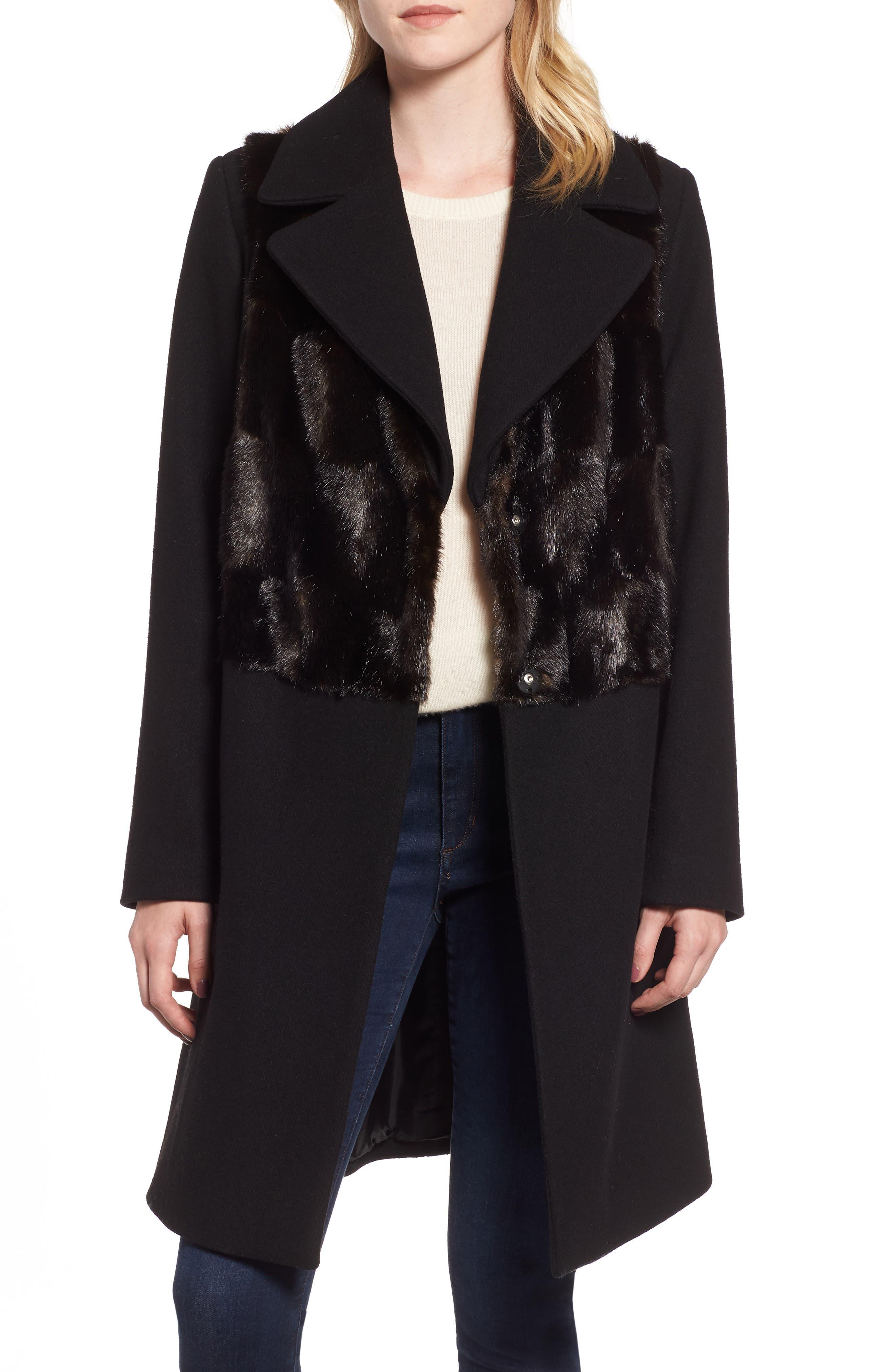 Faux Fur Panel Wool Blend Coat,                             Main thumbnail 1, color,                             BLACK