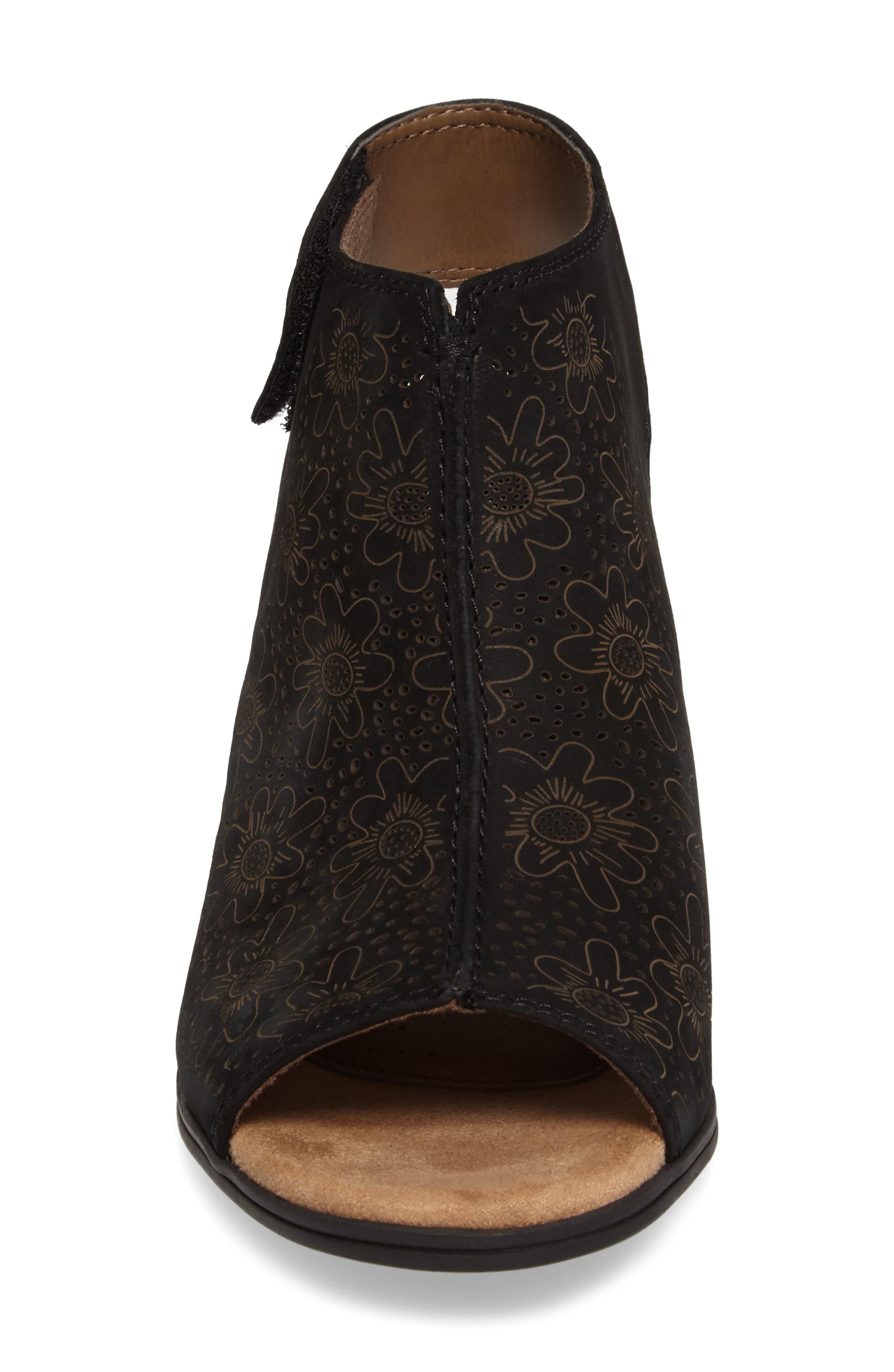 ROCKPORT COBB HILL,                             Hattie Perforated Slingback Sandal,                             Alternate thumbnail 4, color,                             BLACK NUBUCK