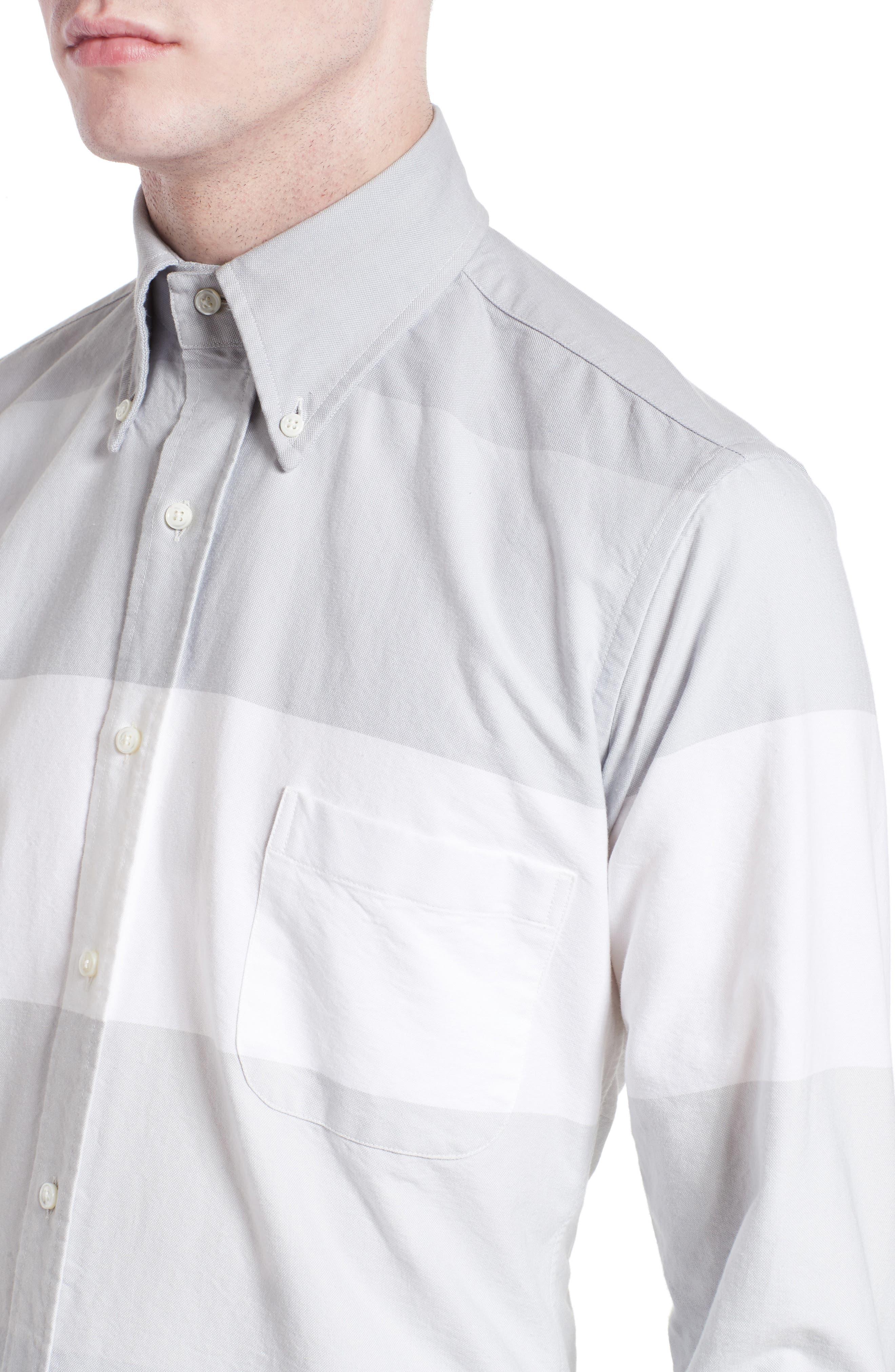 Trim Fit Large Stripe Sport Shirt,                             Alternate thumbnail 5, color,                             020