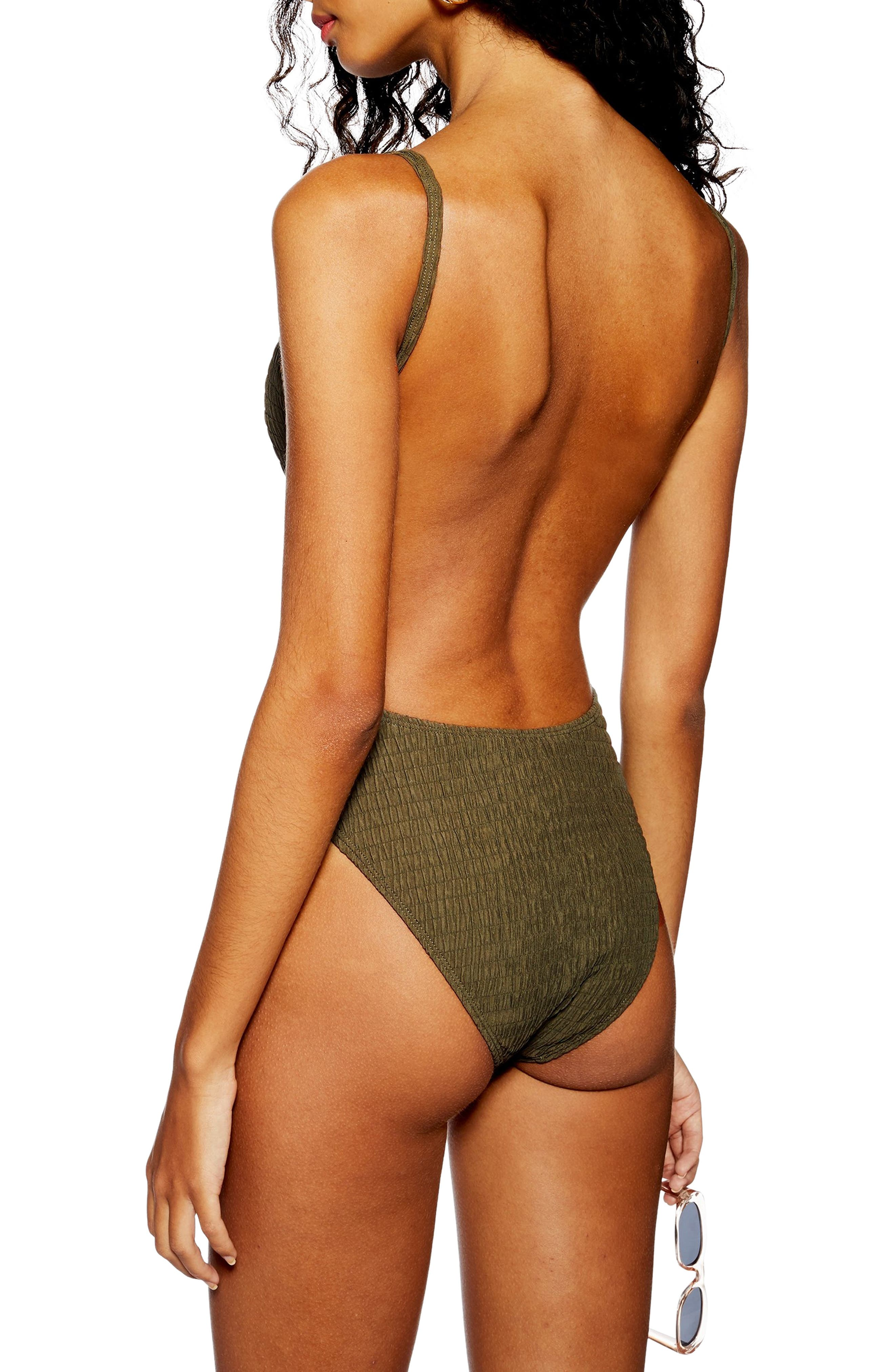 Plunge One-Piece Swimsuit,                             Alternate thumbnail 2, color,                             OLIVE